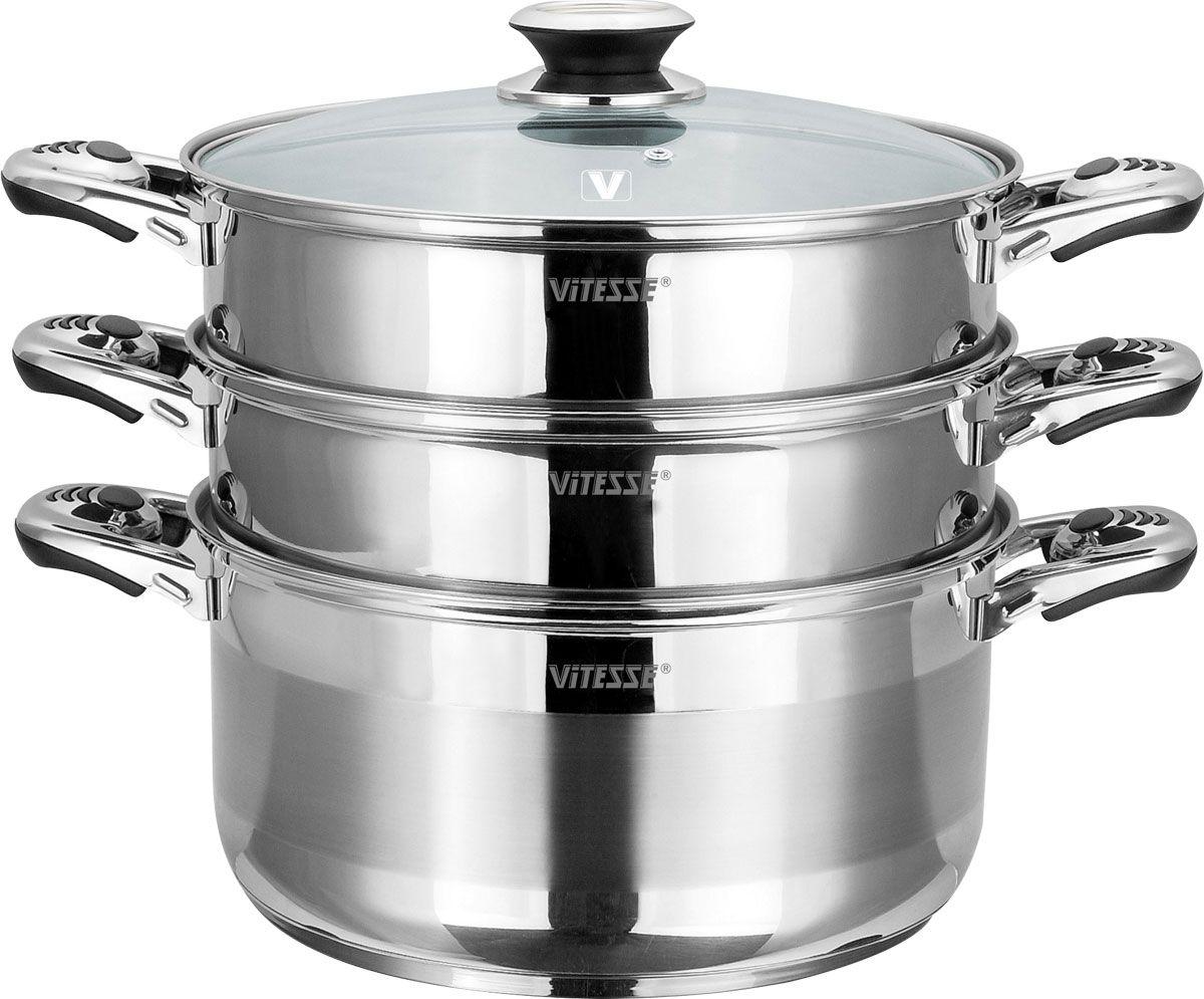 Пароварка Vitesse, 4 предмета. VS-1462FS-91909Пароварка Vitesse станет незаменимым помощником на вашей кухне. Она предназначена для приготовления здоровой пищи на пару. Такой способ приготовления продуктов сохраняет в них полезные витамины и минералы.Пароварка состоит из нижней кастрюли, двух кастрюль с отверстиями и крышки. Кастрюли изготовлены из высококачественной нержавеющей стали 18/10. Многослойное термоаккумулирующее дно обеспечивает равномерное распределение тепла по поверхности посуды. Удобные металлические ручки надежно крепятся к корпусу кастрюль. Крышка, выполненная из термостойкого стекла, позволит наблюдать за процессом приготовления пищи. Также крышка снабжена металлическим ободом.Пароварка Vitesse подходит для использования на всех типах кухонных плит, включая индукционные, также изделие можно мыть в посудомоечной машине. Характеристики:Материал:нержавеющая сталь, алюминий, стекло. Диаметр нижней кастрюли:26 см Высота стенки нижней кастрюли:14 см. Объем нижней кастрюли:7,2 л. Диаметр кастрюли с отверстиями:26 см. Высота стенки кастрюли с отверстиями:7,5 см. Размер упаковки:35 см х 25 см х 29 см.Изготовитель:Китай. Артикул:VS-1462. Кухонная посуда маркиVitesseиз нержавеющей стали 18/10 предоставит Вам все необходимое для получения удовольствия от приготовления пищи и принесет радость от его результатов. ПосудаVitesseобладает выдающимися функциональными свойствами. Легкие в уходе кастрюли и сковородки имеют плотно закрывающиеся крышки, которые дают возможность готовить с малым количеством воды и экономией энергии, и идеально подходят для всех видов плит: газовых, электрических, стеклокерамических и индукционных. Конструкция дна посуды гарантирует быстрое поглощение тепла, его равномерное распределение и сохранение. Великолепно отполированная поверхность, а также многочисленные конструктивные новшества, заложенные во все изделияVitesse , позволит Вам открыть новые горизонты приготовления уже знакомых блюд. Для производства посудыVitesseиспользуются толь
