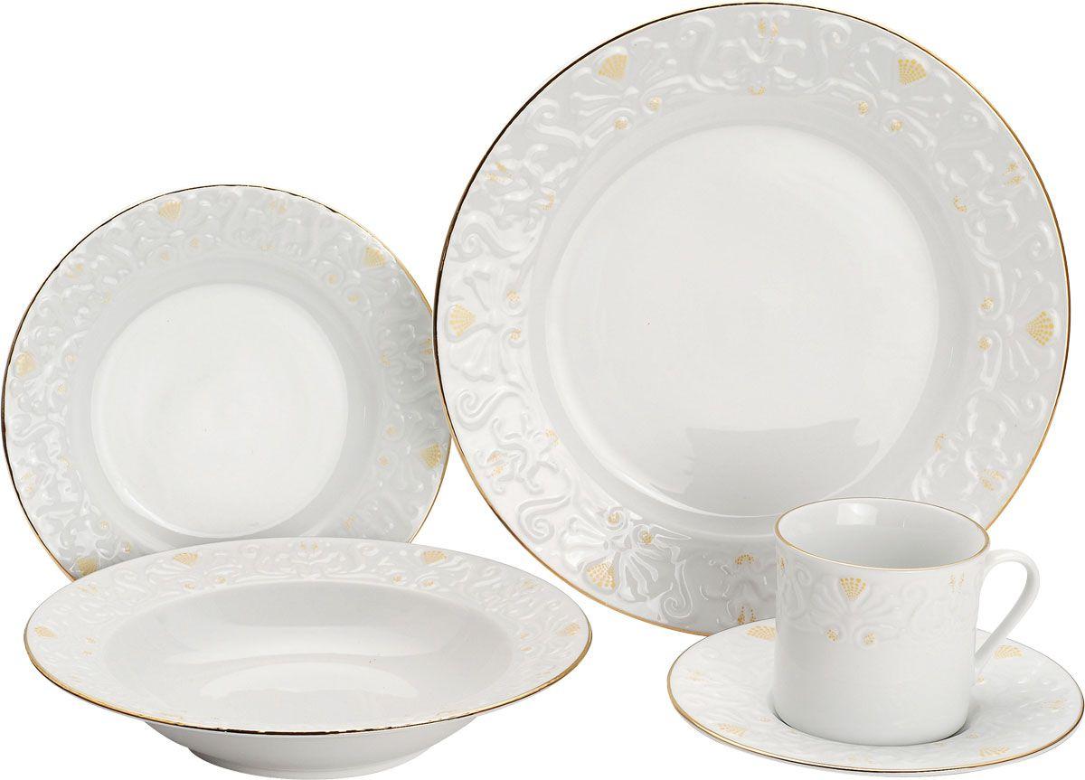 Набор столовый Vitesse Britney, 20 предметов115510Столовый набор Britney, выполненный из высококачественного белого фарфора, оформлен рельефным узором и золотистой эмалью. Он создаст отличное настроение во время обеда и понравится каждой хозяйке. В набор входят 4 чашки, 4 блюдца, 4 салатницы, 4 глубоких тарелки и 4 мелких тарелки.Такой столовый набор придется по вкусу и ценителям классики, и тем, кто предпочитает утонченность и изысканность. Практичный и современный дизайн делает набор довольно простым и удобным в эксплуатации. Все предметы набора нельзя мыть в посудомоечной машине и использовать в микроволновой печи. Характеристики:Материал: фарфор. Диаметр чашки по верхнему краю: 8 см. Высота чашки: 7,5 см. Объем чашки:275 мл. Диаметр блюдца:16 см. Диаметр глубокой тарелки:22 см. Высота глубокой тарелки: 4 см. Диаметр мелкой тарелки: 19 см. Диаметр салатника:27 см. Размер упаковки: 34 см х 26 см х 28 см. Артикул: VS-1513.