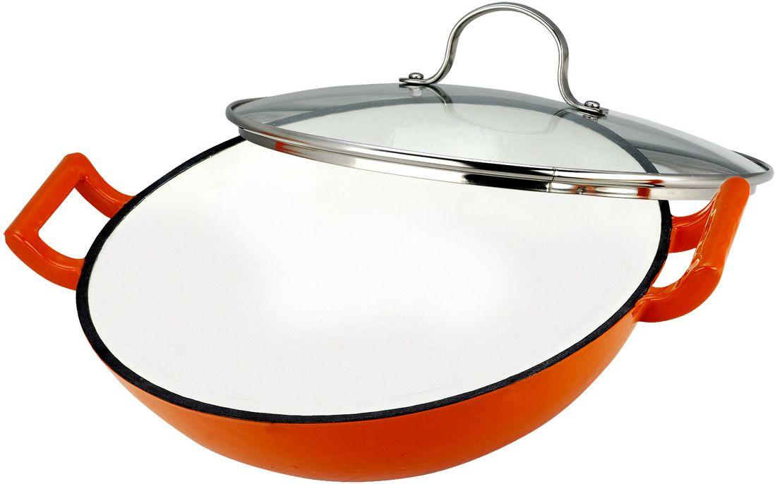 Сковорода-вок Vitesse Ashlee 30 см VS-1583FS-91909Сковорода-вок изготовлена из чугуна и имеет антикоррозийное покрытие и внутреннее матовое эмалированное покрытие. Крышка, изготовленная из стекла позволяет следить за процессом приготовления пищи без потери тепла. Она снабжена металлическим ободом. Сковорода укомплектована съемной решеткой. Полукруглая решетка крепится к сковороде, и на нее выкладываются ингредиенты, которые уже готовы, но не должны остыть. Также в комплект входят пластиковые ложка и поварешка и текстильные прихватка и рукавичка. Сковорода-вок подходит для использования на всех типах кухонных плит, включая индукционные. Также изделие можно мыть в посудомоечной машине. Характеристики: Материал:чугун, стекло, нержавеющая сталь, текстиль, пластик. Диаметр сковороды-вок: 30 см. Высота стенки сковороды-вок:9 см. Толщина стенок:4 мм. Размер решетки:31 см х 16 см. Длина ложки и поварешки:30 см. Размер прихватки:17 см 17 см. Размер рукавички:26 см х 17 см. Размер упаковки:34 см х 12 см х 32 см.Изготовитель:Китай. Артикул:VS-1583.