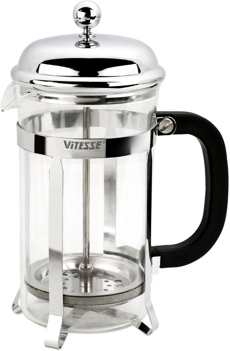 Френч-пресс Vitesse Brianna, с мерной ложкой, 800 мл54 009305Френч-пресс Vitesse Brianna поможет вам в приготовлении ароматного кофе или чая.Колба френч-пресса выполнена из термостойкого стекла, что позволяет наблюдать процесс настаивания и заваривания напитка, а также обеспечивает гигиеничность посуды. Внешний корпус, выполненный из высококачественного нержавеющей стали, долговечен, прочен, а также устойчив к деформации и образованию царапин. Френч-пресс имеет удобную бакелитовую ручку. В комплект входит пластиковая мерная ложка. Уникальный дизайн полностью соответствует последним модным тенденциям в создании предметов бытовой техники.Можно использовать в посудомоечной машине.Высота френч-пресса (с учетом крышки): 20,5 см. Диаметр колбы (по верхнему краю): 9,5 см. Длина мерной ложки: 10 см.