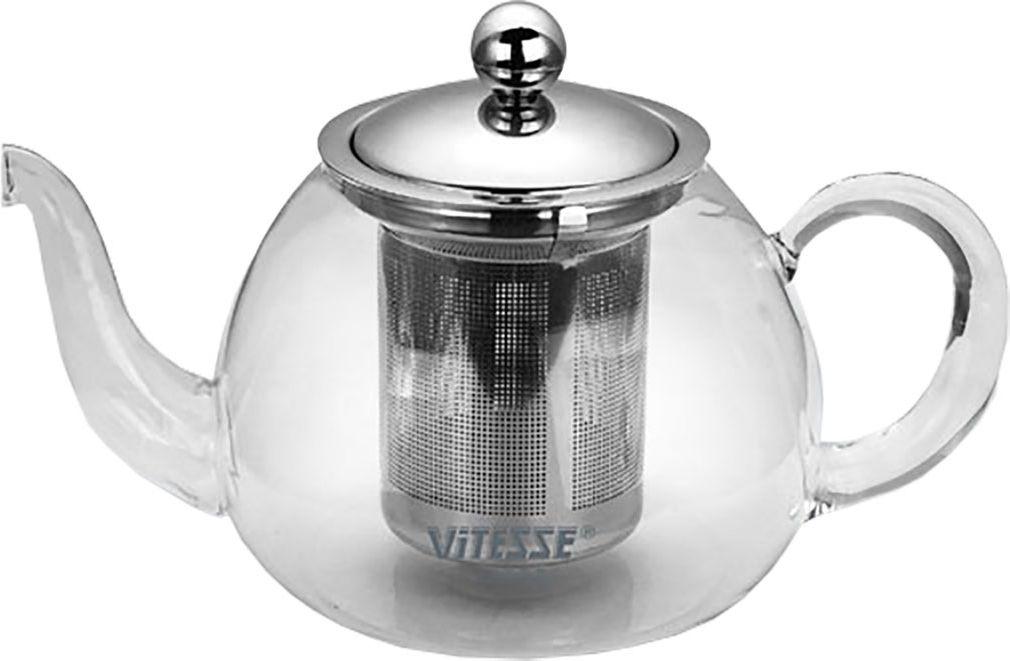 Чайник заварочный Vitesse Cindy, с фильтром, 800 мл. VS-1673VT-1520(SR)Заварочный чайник Cindy, выполненный из термостойкого стекла, послужит вам не только для приготовления чая, но и для подачи чая к столу. Благодаря резервуару из прозрачного стекла можно легко определить момент закипания воды, а также количество оставшегося чая в заварочном чайнике. Крышка и фильтр чайника, отделяющий чайные листья от воды, выполнены из высококачественной нержавеющей стали. Горлышко и ручка чайника изготовлены вручную.Эстетичный и функциональный, с эксклюзивным дизайном, чайник дополнит интерьер и придаст ему оригинальности. Чайник можно использовать на электрической, газовой и стеклокерамической плитах в том случае, если диаметр дна чайника больше или совпадает с диаметром конфорки плиты.Высота чайника (без учета крышки): 9 см.Диаметр основания чайника: 10 см.
