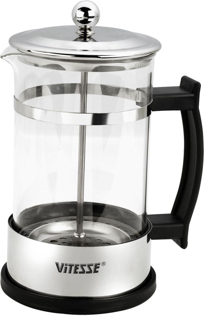 Кофеварка Vitesse Aan, 600 мл68/5/4Кофеварка Aan с фильтром френч-пресс займет достойное место на Вашей кухне. Корпус кофеварки выполнен из термостойкого стекла Pyrex, фильтр - из нержавеющей стали, а ручки - из прочного пластика.В комплект с кофеваркой входят мерная ложка. Кофеварка пригодна для мытья в посудомоечной машине. Настоящим ценителям натурального кофе широко известны основные и наиболее часто применяемые способы его приготовления: эспрессо, по-турецки, гейзерный. Однако существует принципиально иной способ, известный как french press, благодаря которому приготовление ароматного напитка стало гораздо проще.Метод french press прост: в теплый кофейник насыпают кофе грубого помола и заливают горячей водой. После того, как напиток настоится 3-5 минут, гущу отделяют поршнем с сеткой - и кофе готов! Эксперты считают, что такой способ позволяет получить максимально ароматный и нежный кофе - ведь он не перегревается, не подвергается воздействию высокого давления и не проходит через бумажный фильтр. Результат - напиток с максимально чистым вкусом. Характеристики: Высота кофеварки (без учета крышки):16,5 см. Диаметр основания:10 см. Объем:600 мл. Длина мерной ложки:11 см. Материал:нержавеющая сталь, стекло, пластик.Артикул:VS-1677.