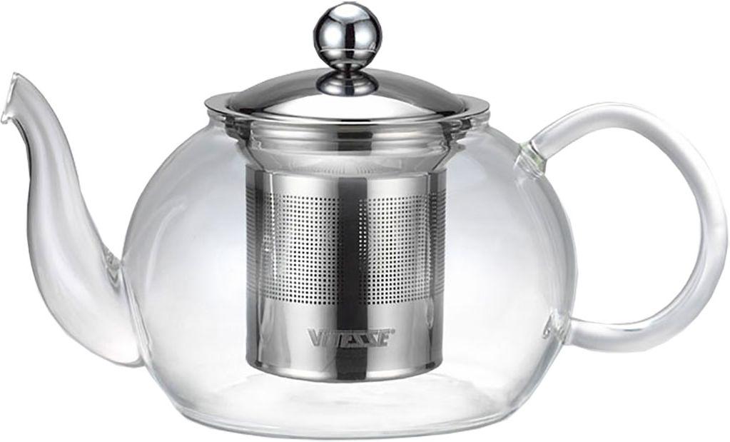 Чайник заварочный Vitesse Tiaret, с фильтром, 800 мл115510Заварочный чайник Vitesse Tiaret, выполненный из термостойкого стекла, предоставит вам все необходимые возможности для успешного заваривания чая. Чай в таком чайнике дольше остается горячим, а полезные и ароматические вещества полностью сохраняются в напитке. Чайник имеет вынимающийся фильтр и крышку из нержавеющей стали 18/10, горлышко и ручка изготовлены вручную.Эстетичный и функциональный, с эксклюзивным дизайном, чайник будет оригинально смотреться в любом интерьере.Чайник пригоден для мытья в посудомоечной машине.Высота чайника (без учета крышки): 8 см.Диаметр основания чайника: 7 см.