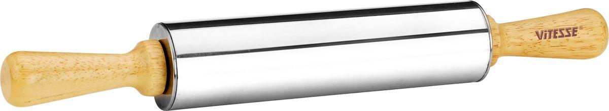 Скалка Vitesse Lara, длина 38 см. VS-192354 009312Скалка Vitesse Lara поможет быстро и легко раскатать тесто. Эргономичные деревянные ручки и вращающийся валик делают работу быстрой и приятной. Валик изготовлен из нержавеющей стали с зеркальной полировкой. Теперь вам не потребуется много усилий, чтобы раскатать тесто. Характеристики: Материал: дерево, нержавеющая сталь 18/10. Длина скалки: 38 см. Длина валика: 20 см. Диаметр скалки: 4,5 см.