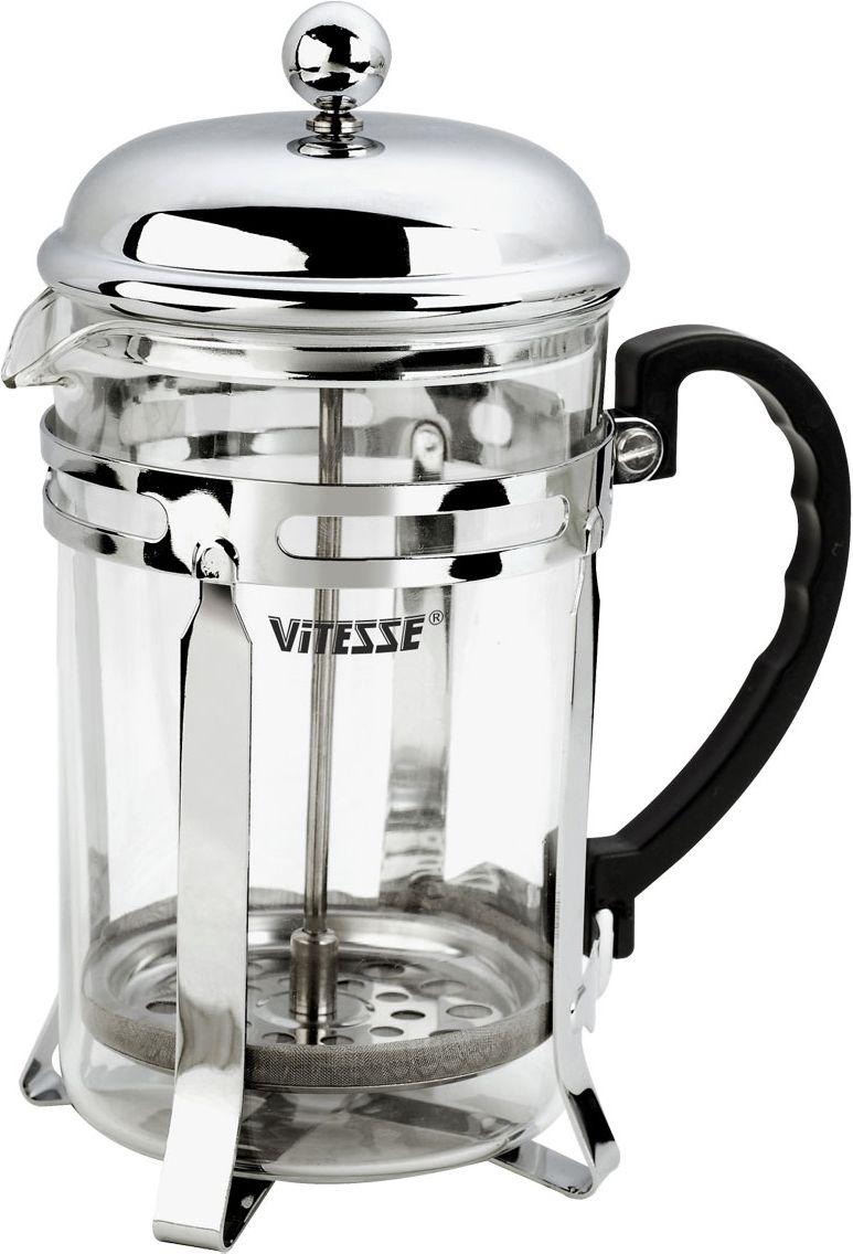 Кофеварка Vitesse Eliza, 600 млVS-1927Кофеварка Vitesse Eliza с фильтром френч-пресс займет достойное место на вашей кухне. Колба кофеварки изготовлена из термостойкого стекла, а фильтр френч-пресс из нержавеющей стали. К кофеварке прилагается пластиковая мерная ложечка. Изделие пригодно для мытья в посудомоечной машине. Настоящим ценителям натурального кофе широко известны основные и наиболее часто применяемые способы его приготовления: эспрессо, по-турецки, гейзерный. Однако существует принципиально иной способ, известный как french press, благодаря которому приготовление ароматного напитка стало гораздо проще.Метод french press прост: в теплый кофейник насыпают кофе грубого помола и заливают горячей водой. После того, как напиток настоится 3-5 минут, гущу отделяют поршнем с сеткой - и кофе готов! Эксперты считают, что такой способ позволяет получить максимально ароматный и нежный кофе - ведь он не перегревается, не подвергается воздействию высокого давления и не проходит через бумажный фильтр. Результат - напиток с максимально чистым вкусом. Характеристики:Материал:нержавеющая сталь, стекло, пластик. Объем:600 мл. Высота (с учетом крышки):19,5 см. Размер упаковки:13 см х 21 см х 10 см.Артикул:VS-1927. Кухонная посуда марки Vitesseиз нержавеющей стали 18/10 предоставит Вам все необходимое для получения удовольствия от приготовления пищи и принесет радость от его результатов. Посуда Vitesse обладает выдающимися функциональными свойствами. Легкие в уходе кастрюли и сковородки имеют плотно закрывающиеся крышки, которые дают возможность готовить с малым количеством воды и экономией энергии, и идеально подходят для всех видов плит: газовых, электрических, стеклокерамических и индукционных. Конструкция дна посуды гарантирует быстрое поглощение тепла, его равномерное распределение и сохранение. Великолепно отполированная поверхность, а также многочисленные конструктивные новшества, заложенные во все изделия Vitesse, позволит Вам открыть новые горизонты приготовления уже 