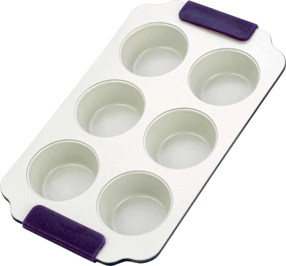 Форма для выпечки кексов Vitesse, цвет: синий, 6 ячеек. VS-1965FS-91909Прямоугольная форма для выпечки кексов Vitesse изготовлена из высококачественной углеродистой стали. Форма содержит 6 круглых ячеек для кексов. Внутреннее керамическое покрытие Eco-Cera светло-серого цвета, позволяющее готовить при температуре 220°С, не оставляет послевкусия, делает возможным приготовление блюд без масла, сохраняет витамины и питательные вещества. Такое покрытие абсолютно безопасно для здоровья человека и окружающей среды, так как не содержит вредной примеси PFOA и имеет низкое содержание CO в выбросах при производстве. Керамическое покрытие обладает высокой прочностью и устойчивостью к царапинам. Кроме того, с таким покрытием пища не пригорает и не прилипает к стенкам. Готовить можно с минимальным количеством подсолнечного масла. Высокотехнологичное внешнее покрытие, подвергшееся температурной обработке, устойчиво к механическим повреждениям. Удобные ручки оснащены съемными силиконовыми вставками. Простая в уходе и долговечная в использовании форма Vitesse будет верной помощницей в создании ваших кулинарных шедевров.Можно мыть в посудомоечной машине и использовать в духовке. Не предназначена для СВЧ-печей. Характеристики:Материал: углеродистая сталь, силикон. Цвет: синий, светло-серый. Количество ячеек: 6 шт. Диаметр ячейки: 7 см. Размер формы (с учетом ручек): 30,5 см х 18 см. Высота стенки: 2,5 см. Толщина стенки: 0,6 см.