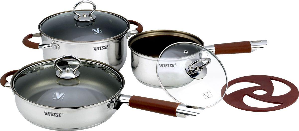 Набор посуды Vitesse, с антипригарным покрытием, 7 предметов. VS-20311407-463Набор посуды Vitesse состоит из кастрюли с крышкой, сотейника с крышкой, сковороды с крышкой и бакелитовой подставки. Кастрюли изготовлены из высококачественной нержавеющей стали 18/10 с антипригарным покрытием Xylan Plus.Антипригарное покрытие имеет 3 слоя:- Шероховатый грунтовый слой. Обеспечивает длительный срок службы.- Прочный средний слой. Препятствует появлению царапин.- Уникальный верхний слой. Облегчает извлечение продуктов и чистку посуды.Зеркальная полировка придает изделиям стильный внешний вид. Многослойное термоаккумулирующее дно с прослойкой из алюминия обеспечивает наилучшее распределение тепла. Изделия оснащены удобными ненагревающимися ручками с силиконовыми вставками коричневого цвета. Крышка изготовлена из жаростойкого стекла, оснащена металлическим ободом, пароотводом и ручкой. Крышка плотно прилегает к краю посуды, сохраняя аромат блюд и позволяя следить за приготовлением блюд без потери тепла Подставка, выполненная из бакелита бордового цвета, защитит поверхность стола от высоких температур.Можно готовить на газовых, электрических, стеклокерамических, галогенных, индукционных плитах. Подходит для мытья в посудомоечной машине и использования в духовом шкафу. Характеристики: Материал: нержавеющая сталь 18/10, силикон, стекло, бакелит. Объем кастрюли: 3,1 л. Диаметр кастрюли: 20 см. Высота стенки кастрюли: 10,5 см. Объем сотейника: 1,6 л. Диаметр сотейника: 16 см. Высота стенки сотейника: 8,5 см. Диаметр сковороды: 22 см. Высота стенки сковороды: 6 см. Толщина стенки: 3 мм. Толщина дна: 5 мм. Диаметр подставки: 16 см.