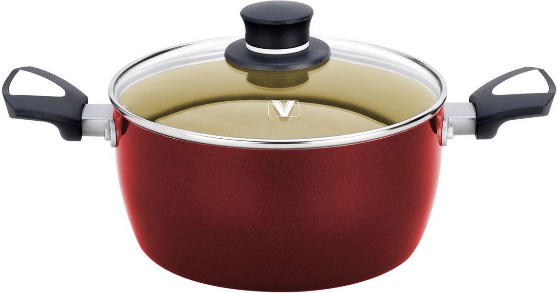 Кастрюля Vitesse, с лопаткой, цвет: красный, 5,4 лVS-2208-redКастрюля Vitesse изготовлена из высококачественного алюминия, внутренние стенки имеют антипригарное покрытие. Многослойное термоаккумулирующее дно с утолщенным слоем из алюминия обеспечивает равномерное распределение тепла. С внешней стороны кастрюля имеет силиконовое покрытие, что обеспечивает удобную чистку. Прозрачная крышка, выполненная из термостойкого стекла, позволяет следить за процессом приготовления пищи, а ручки надежно крепятся к корпусу и обеспечивают удобство при эксплуатации. В комплект с кастрюлей входит бакелитовая, высокопрочная, огнестойкая, ненагревающаяся ручка удобной формы на заклепках. Кастрюля подходит для газовых, электрических и стеклокерамических плит и пригодна для мытья в посудомоечной машине.Характеристики: Материал:алюминий, стекло, силикон. Объем:5,4 л. Внешний диаметр кастрюли по верхнему краю:24,5 см. Внутренний диаметр кастрюли по верхнему краю:24 см. Толщина стенок:2,5 мм. Высота стенки кастрюли:11,5 см. Размер упаковки:36 см x 25 см x 14 см.Изготовитель:Китай. Артикул:2208.Кухонная посуда марки Vitesse предоставит вам все необходимое для получения удовольствия от приготовления пищи и принесет радость от его результатов. Посуда Vitesse обладает выдающимися функциональными свойствами. Легкие в уходе кастрюли и сковородки имеют плотно закрывающиеся крышки, которые дают возможность готовить с малым количеством воды и экономией энергии, и идеально подходят для всех видов плит: газовых, электрических, стеклокерамических и индукционных. Конструкция дна посуды гарантирует быстрое поглощение тепла, его равномерное распределение и сохранение. Великолепно отполированная поверхность, а также многочисленные конструктивные новшества, заложенные во все изделия Vitesse, позволит вам открыть новые горизонты приготовления уже знакомых блюд. Для производства посуды Vitesseиспользуются только высококачественные материалы, которые соответствуют международным стандартам.