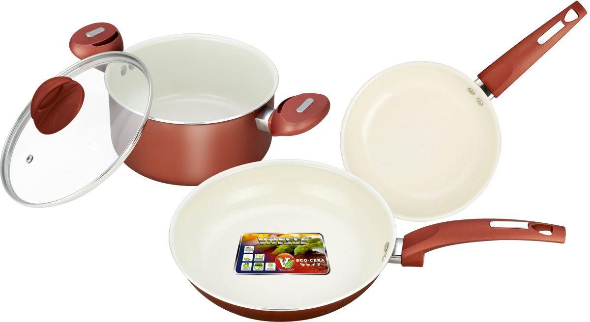 Набор посуды Vitesse, цвет: бронзовый, 4 предмета VS-2216FS-91909Набор посуды Vitesse прекрасно подойдет для вашей кухни. Он состоит из кастрюли с крышкой и двух сковородок разного диаметра. Предметы набора изготовлены из высококачественного алюминия. Они имеют внешнее элегантное цветное покрытие, подвергшееся высокотемпературной обработке. Стойкое внутреннее антипригарное керамическое покрытие позволяет готовить при температуре 450°С. Оно обеспечивает быстрый нагрев и равномерное распределение тепла по поверхности емкости. Ручки выполнены из бакелита и имеют удобную форму. Они высокопрочные, огнестойкие и не нагреваются. Крышка выполнена из стекла. Она оснащена отверстием для выхода пара и металлическим ободом по краю, который предотвратит скол стекла. Посуду можно использовать на любых типах плит, кроме индукционной. Характеристики: Материал: алюминий, бакелит, стекло. Объем кастрюли:2,8 л. Диаметр кастрюли:20 см. Диаметр малой сковороды:20 см. Глубина малой сковороды:4 см. Длина ручки малой сковороды:18 см. Диаметр большой сковороды:24 см. Глубина большой сковороды: 4,5 см. Длина ручки большой сковороды:20 см. Размер упаковки:32 см х 26 см х 15 см.Артикул:VS-2216.