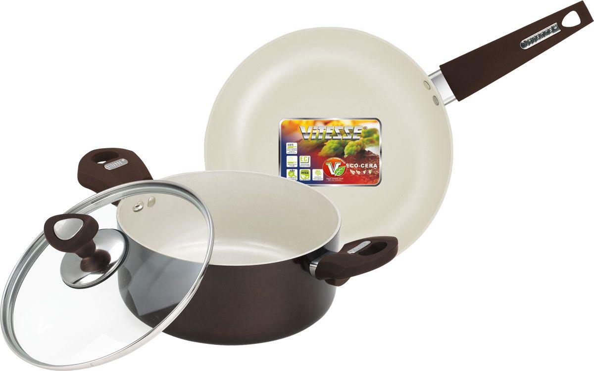 Набор посуды Vitesse, с антипригарным покрытием, цвет: коричневый, 3 предмета. VS-2219115510Набор посуды Vitesse Athena состоит из кастрюли с крышкой и сковороды. Изделия выполнены из высококачественного алюминия. Внешнее термостойкое покрытие коричневого цвета, подвергшееся высокотемпературной обработке, обеспечивает легкую чистку. Внутреннее керамическое покрытие Eco-Cera абсолютно безопасно для здоровья человека и окружающей среды, так как не содержит вредной примеси PFOA и имеет низкое содержание CO в выбросах при производстве. Керамическое покрытие обладает устойчивостью к царапинам и механическим повреждениям. Прочность покрытия позволяет готовить при температуре до 450°С и использовать металлические лопатки. Кроме того, с таким покрытием пища не пригорает и не прилипает к стенкам. Готовить можно с минимальным количеством подсолнечного масла. Посуда быстро разогревается, распределяя тепло по всей поверхности, что позволяет готовить в энергосберегающем режиме, значительно сокращая время, проведенное у плиты.Посуда оснащена удобными не нагревающимися ручками из нержавеющей стали с покрытием Soft-touch.Крышка из термостойкого стекла с металлическим ободом, позволит вам наблюдать за процессом приготовления пищи без потери тепла. На крышки имеется отверстие для выпуска пара. Она плотно прилегает к краю кастрюли, сохраняя аромат блюд. Можно использовать на газовых, электрических, стеклокерамических, галогенных плитах.Ширина кастрюля (с учетом ручек): 34 см.Высота стенок кастрюли: 9 см.Объем: 2,8 л.Диаметр сковороды(по верхнему краю): 24 см.Высота стенок: 5 см.Толщина стенок: 3 мл.Толщина дна: 3 мл.Длина ручки: 21 см.