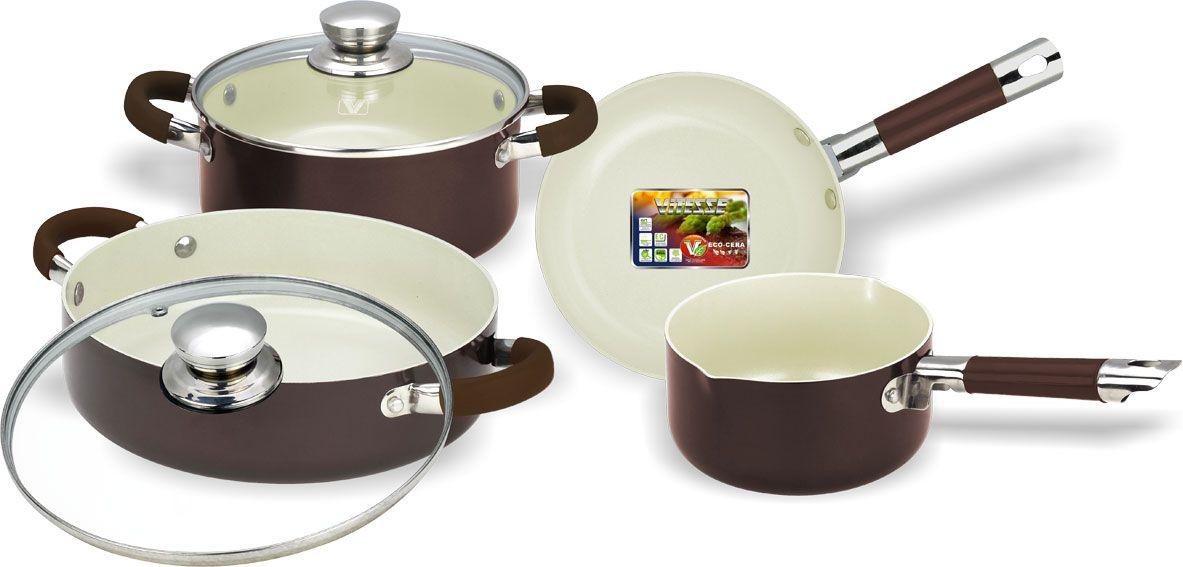 Набор посуды Vitesse, с керамическим покрытием, 6 предметов. VS-222254 009312Набор посуды Vitesse состоит из двух кастрюль с крышками, сковороды и ковша. Изделия выполнены из высококачественного алюминия. Внешнее термостойкое покрытие коричневого цвета, подвергшееся высокотемпературной обработке, обеспечивает легкую чистку. Внутреннее керамическое покрытие Eco-Cera белого цвета абсолютно безопасно для здоровья человека и окружающей среды, так как не содержит вредной примеси PFOA и имеет низкое содержание CO в выбросах при производстве. Керамическое покрытие обладает устойчивостью к царапинам и механическим повреждениям. Прочность покрытия позволяет готовить при температуре до 450°С и использовать металлические лопатки. Кроме того, с таким покрытием пища не пригорает и не прилипает к стенкам. Готовить можно с минимальным количеством подсолнечного масла. Посуда быстро разогревается, распределяя тепло по всей поверхности, что позволяет готовить в энергосберегающем режиме, значительно сокращая время, проведенное у плиты.Посуда оснащена удобными ненагревающимися ручками из нержавеющей стали с силиконовым покрытием.Крышки из термостойкого стекла позволят следить за процессом приготовления пищи без потери тепла. Они плотно прилегает к краям посуды, сохраняя аромат блюд. Можно использовать на газовых, электрических, стеклокерамических, галогенных плитах. Можно мыть в посудомоечной машине.Характеристики:Материал: алюминий, силикон, нержавеющая сталь 18/10, стекло. Цвет: коричневый, белый. Внутренний диаметр сковороды: 20 см. Высота стенки сковороды: 5 см. Длина ручки сковороды: 17 см. Объем кастрюль: 2,8 л, 3,1 л. Диаметр кастрюль: 20 см, 24 см. Высота стенок кастрюль: 9 см, 7 см. Объем ковша: 1,4 л. Диаметр ковша: 16 см. Высота стенки ковша: 8,5 см. Толщина стенки: 2,5 мм. Толщина дна: 4 мм.