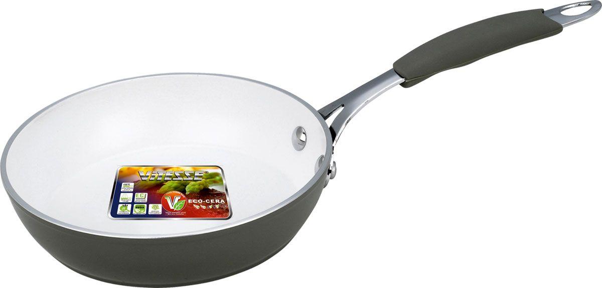 Сковорода Vitesse, с керамическим покрытием, цвет: серый. Диаметр 26 см. VS-2231VS-2231-greyСковорода Vitesse изготовлена из высококачественного кованого алюминия, что обеспечивает равномерное нагревание и быстрое доведение блюд до готовности. Внешнее цветное термостойкое покрытие обеспечивает легкую чистку. Внутреннее керамическое покрытие Eco-Cera белого цвета абсолютно безопасно для здоровья человека и окружающей среды, так как не содержит вредной примеси PFOA и имеет низкое содержание CO в выбросах при производстве. Керамическое покрытие обладает высокой прочностью, что позволяет готовить при температуре до 450°С и использовать металлические лопатки. Кроме того, с таким покрытием пища не пригорает и не прилипает к стенкам. Готовить можно с минимальным количеством подсолнечного масла. Сковорода быстро разогревается, распределяя тепло по всей поверхности, что позволяет готовить в энергосберегающем режиме, значительно сокращая время, проведенное у плиты.Сковорода оснащена термостойкой ненагревающейся ручкой удобной формы, выполненной из нержавеющей стали с силиконовым покрытием. Можно использовать на газовых, электрических, стеклокерамических, галогенных, чугунных конфорках. Можно мыть в посудомоечной машине. Характеристики:Материал: алюминий, силикон, нержавеющая сталь. Цвет: серый, белый. Диаметр: 26 см. Высота стенки: 5,5 см. Толщина стенки: 3 мм. Толщина дна: 4 мм. Длина ручки: 21 см. Диаметр дна: 22 см.