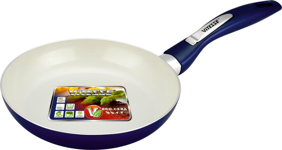 Сковорода Vitesse Le Grande, с керамическим покрытием, цвет: синий. Диаметр 20 см. VS-2233FS-91909Сковорода Vitesse Le Grande изготовлена из высококачественного алюминия с внутренним керамическим покрытием премиум-класса Eco-Cera. Благодаря керамическому покрытию пища не пригорает и не прилипает к поверхности сковороды, что позволяет готовить с минимальным количеством масла. Кроме того, такое покрытие абсолютно безопасно для здоровья человека, так как не содержит вредной примеси PFOA. Покрытие стойко к высоким температурам (до 450°С), устойчиво к царапинам.Внешнее силиконовое покрытие цвета синий металлик обеспечивает легкую чистку. Дно сковороды снабжено антидеформационным индукционным диском. Сковорода быстро разогревается, распределяя тепло по всей поверхности, что позволяет готовить в энергосберегающем режиме, значительно сокращая время, проведенное у плиты.Сковорода оснащена бакелитовой, высокопрочной, огнестойкой, ненагревающейся ручкой удобной формы. Сковорода пригодна для использования на всех типах плит, включая индукционные. Подходит для чистки в посудомоечной машине. Характеристики:Материал: алюминий, бакелит. Цвет: синий. Внутренний диаметр сковороды: 20 см. Высота стенки сковороды: 4 см. Толщина стенки: 2,8 мм. Толщина дна: 5 мм. Длина ручки: 16 см. Диаметр индукционного диска: 11,5 см.Кухонная посуда марки Vitesse из нержавеющей стали 18/10 предоставит вам все необходимое для получения удовольствия от приготовления пищи и принесет радость от его результатов. Посуда Vitesse обладает выдающимися функциональными свойствами. Легкие в уходе кастрюли и сковородки имеют плотно закрывающиеся крышки, которые дают возможность готовить с малым количеством воды и экономией энергии, и идеально подходят для всех видов плит: газовых, электрических, стеклокерамических и индукционных. Конструкция дна посуды гарантирует быстрое поглощение тепла, его равномерное распределение и сохранение. Великолепно отполированная поверхность, а также многочисленные конструктивные новш