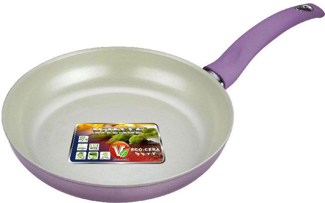 Сковорода Vitesse Cullinan, с керамическим покрытием, цвет: сиреневый. Диаметр 26 см391602Сковорода Vitesse Cullinan изготовлена из высококачественного алюминия с внутренним керамическим покрытием премиум-класса Eco-Cera. Благодаря керамическому покрытию пища не пригорает и не прилипает к поверхности сковороды, что позволяет готовить с минимальным количеством масла. Кроме того, такое покрытие абсолютно безопасно для здоровья человека, так как не содержит вредной примеси PFOA. Покрытие стойко к высоким температурам (до 450°С), устойчиво к царапинам.Сковорода имеет внешнее элегантное цветное покрытие, подвергшееся температурной обработке. Сковорода быстро разогревается, распределяя тепло по всей поверхности, что позволяет готовить в энергосберегающем режиме, значительно сокращая время, проведенное у плиты.Сковорода оснащена удобной бакелитовой ручкой с покрытием змеиная кожа. Сковорода пригодна для использования на всех типах плит, кроме индукционных. Подходит для чистки в посудомоечной машине. Характеристики:Материал: алюминий, бакелит. Цвет: сиреневый. Внутренний диаметр сковороды: 26 см. Высота стенки сковороды: 5 см. Толщина стенки: 2,5 мм. Толщина дна: 5 мм. Длина ручки: 20 см. Диаметр основания: 20,5 см.Кухонная посуда марки Vitesse из нержавеющей стали 18/10 предоставит вам все необходимое для получения удовольствия от приготовления пищи и принесет радость от его результатов. Посуда Vitesse обладает выдающимися функциональными свойствами. Легкие в уходе кастрюли и сковородки имеют плотно закрывающиеся крышки, которые дают возможность готовить с малым количеством воды и экономией энергии, и идеально подходят для всех видов плит: газовых, электрических, стеклокерамических и индукционных. Конструкция дна посуды гарантирует быстрое поглощение тепла, его равномерное распределение и сохранение. Великолепно отполированная поверхность, а также многочисленные конструктивные новшества, заложенные во все изделия Vitesse , позволит вам открыть новые горизонты приготовления