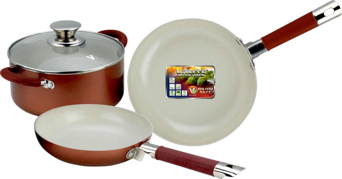 Набор посуды Vitesse Athena, с керамическим покрытием, цвет: красный, 4 предмета. VS-2238VS-2238-redНабор посуды Vitesse Athena состоит из кастрюли с крышкой и двух сковородок. Изделия выполнены из высококачественного алюминия. Внешнее термостойкое покрытие красного цвета, подвергшееся высокотемпературной обработке, обеспечивает легкую чистку. Внутреннее керамическое покрытие Eco-Cera белого цвета абсолютно безопасно для здоровья человека и окружающей среды, так как не содержит вредной примеси PFOA и имеет низкое содержание CO в выбросах при производстве. Керамическое покрытие обладает устойчивостью к царапинам и механическим повреждениям. Прочность покрытия позволяет готовить при температуре до 450°С и использовать металлические лопатки. Кроме того, с таким покрытием пища не пригорает и не прилипает к стенкам. Готовить можно с минимальным количеством подсолнечного масла. Посуда быстро разогревается, распределяя тепло по всей поверхности, что позволяет готовить в энергосберегающем режиме, значительно сокращая время, проведенное у плиты.Посуда оснащена удобными ненагревающимися ручками из нержавеющей стали с силиконовыми вставками.Крышка из термостойкого стекла позволит следить за процессом приготовления пищи без потери тепла. Она плотно прилегает к краю кастрюли, сохраняя аромат блюд. Можно использовать на газовых, электрических, стеклокерамических, галогенных плитах. Можно мыть в посудомоечной машине.Характеристики:Материал: алюминий, силикон, нержавеющая сталь 18/10, стекло. Цвет: красный, белый. Внутренний диаметр сковородок: 20 см, 24 см. Высота стенок сковородок: 4,5 см, 5 см. Длина ручек сковородок: 17 см, 19 см. Объем кастрюли: 2,3 л. Диаметр кастрюли: 20 см. Высота стенки кастрюли: 9 см. Толщина стенки: 2,5 мм. Толщина дна: 4 мм.