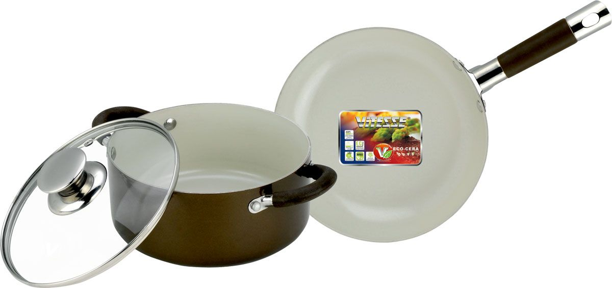 Набор посуды Vitesse Athena, с керамическим покрытием, цвет: коричневый, 3 предмета. VS-223968/5/4Набор посуды Vitesse Athena состоит из кастрюли с крышкой и сковороды. Изделия выполнены из высококачественного алюминия. Внешнее термостойкое покрытие коричневого цвета, подвергшееся высокотемпературной обработке, обеспечивает легкую чистку. Внутреннее керамическое покрытие Eco-Cera белого цвета абсолютно безопасно для здоровья человека и окружающей среды, так как не содержит вредной примеси PFOA и имеет низкое содержание CO в выбросах при производстве. Керамическое покрытие обладает устойчивостью к царапинам и механическим повреждениям. Прочность покрытия позволяет готовить при температуре до 450°С и использовать металлические лопатки. Кроме того, с таким покрытием пища не пригорает и не прилипает к стенкам. Готовить можно с минимальным количеством подсолнечного масла. Посуда быстро разогревается, распределяя тепло по всей поверхности, что позволяет готовить в энергосберегающем режиме, значительно сокращая время, проведенное у плиты.Посуда оснащена удобными ненагревающимися ручками из нержавеющей стали с силиконовыми вставками.Крышка из термостойкого стекла позволит следить за процессом приготовления пищи без потери тепла. Она плотно прилегает к краю кастрюли, сохраняя аромат блюд. Можно использовать на газовых, электрических, стеклокерамических, галогенных плитах. Можно мыть в посудомоечной машине.Характеристики:Материал: алюминий, силикон, нержавеющая сталь 18/10, стекло. Цвет: коричневый. Внутренний диаметр сковороды: 24 см. Высота стенки сковороды: 5 см. Длина ручки сковороды: 19 см. Объем кастрюли: 2,8 л. Диаметр кастрюли: 20 см. Высота стенки кастрюли: 9 см. Толщина стенки: 2,5 мм. Толщина дна: 4 мм.