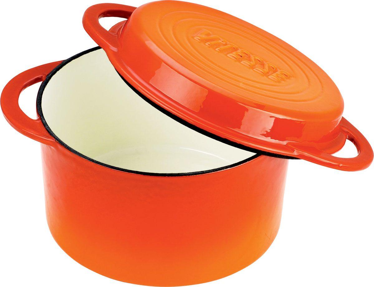 Кастрюля Vitesse Ferro с крышкой-сковородой, цвет: оранжевый, 6,6 л + ПОДАРОК: Кухонная рукавица, 2 шт391602Кастрюля Vitesse Ferro изготовлена из чугуна с эмалированной внутренней и внешней поверхностью. Эмалированный чугун - это железо, на которое наложено прочное стекловидное эмалевое покрытие. Такая посуда отлично подходит для приготовления традиционной здоровой пищи. Чугун является наилучшим материалом, который долго удерживает и равномерно распределяет тепло. Благодаря особым качествам эмали, чем дольше вы используете посуду, тем лучше становятся ее эксплуатационные характеристики. Чугун обладает высокой прочностью, износоустойчивостью и антикоррозийными свойствами. Кастрюля оснащена цельнолитыми чугунными ручками. Крышку можно использовать в качестве сковороды.В подарок: - кухонные рукавицы.Можно готовить на газовых, электрических, стеклокерамических, галогенных, индукционных плитах. Подходит для мытья в посудомоечной машине и использования в духовом шкафу. Характеристики: Материал: чугун. Цвет: оранжевый, бежевый. Объем: 6,6 л. Диаметр кастрюли: 23 см. Высота стенки: 13 см. Толщина стенки: 4 мм. Толщина дна: 6 мм.