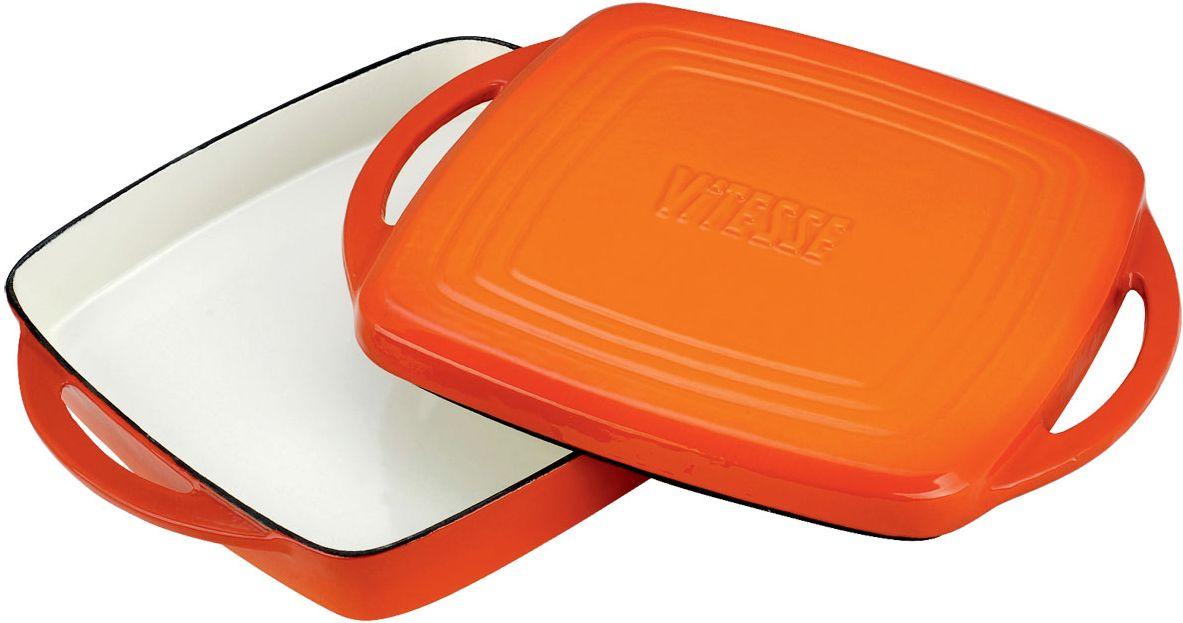 Жаровня Vitesse Ferro с крышкой-сковородой, цвет: оранжевый, 27 х 27 см + ПОДАРОК: Кухонные рукавицы, 2 шт391602Жаровня Vitesse Ferro изготовлена из чугуна с эмалированной внутренней и внешней поверхностью. Эмалированный чугун - это железо, на которое наложено прочное стекловидное эмалевое покрытие. Такая посуда отлично подходит для приготовления традиционной здоровой пищи. Чугун является наилучшим материалом, который долго удерживает и равномерно распределяет тепло. Благодаря особым качествам эмали, чем дольше вы используете посуду, тем лучше становятся ее эксплуатационные характеристики. Чугун обладает высокой прочностью, износоустойчивостью и антикоррозийными свойствами. Жаровня оснащена цельнолитыми чугунными ручками. Крышку очень удобно использовать как сковороду: рифленая поверхность создаст на продуктах аппетитную корочку. В подарок: - кухонные рукавицы.Можно готовить на газовых, электрических, стеклокерамических, галогенных, индукционных плитах. Подходит для мытья в посудомоечной машине и использования в духовом шкафу. Характеристики: Материал: чугун. Цвет: оранжевый, бежевый. Внутренний размер жаровни: 27 см х 27 см. Размер жаровни (с учетом ручек): 33 см х 27 см. Высота стенки: 4 см. Толщина стенки: 4 мм.