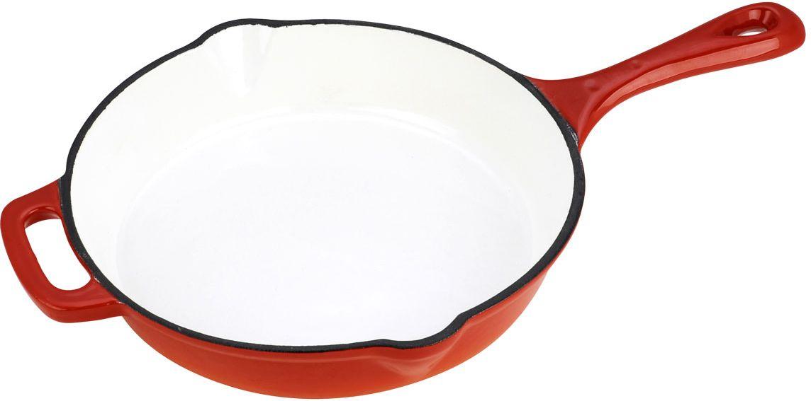 Сковорода Vitesse Ferro, цвет: оранжевый. Диаметр 26 см + ПОДАРОК: Кухонная рукавица, 1 шт300180_синийСковорода Vitesse Ferro изготовлена из чугуна с эмалированной внутренней и внешней поверхностью. Эмалированный чугун - это железо, на которое наложено прочное стекловидное эмалевое покрытие. Такая посуда отлично подходит для приготовления традиционной здоровой пищи. Чугун является наилучшим материалом, который долго удерживает и равномерно распределяет тепло. Благодаря особым качествам эмали, чем дольше вы используете посуду, тем лучше становятся ее эксплуатационные характеристики. Чугун обладает высокой прочностью, износоустойчивостью и антикоррозийными свойствами. Сковорода оснащена цельнолитой чугунной ручкой. По бокам изделие имеет носики для слива жидкости.В подарок: - кухонная рукавица.Можно готовить на газовых, электрических, стеклокерамических, галогенных, индукционных плитах. Подходит для мытья в посудомоечной машине и использования в духовом шкафу. Характеристики: Материал: чугун. Цвет: оранжевый, бежевый. Диаметр сковороды: 26 см. Высота стенки: 5,5 см. Толщина стенки: 4 мм. Толщина дна: 6 мм.