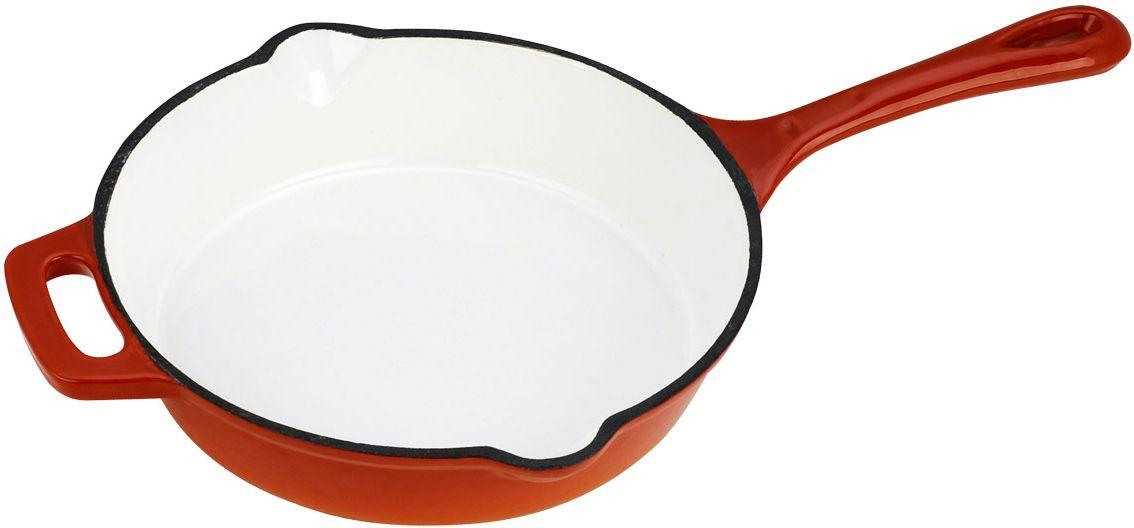 Сковорода Vitesse Ferro, цвет: оранжевый. Диаметр 21 см + ПОДАРОК: Кухонная рукавица, 1 штFS-91909Сковорода Vitesse Ferro изготовлена из чугуна с эмалированной внутренней и внешней поверхностью. Эмалированный чугун - это железо, на которое наложено прочное стекловидное эмалевое покрытие. Такая посуда отлично подходит для приготовления традиционной здоровой пищи. Чугун является наилучшим материалом, который долго удерживает и равномерно распределяет тепло. Благодаря особым качествам эмали, чем дольше вы используете посуду, тем лучше становятся ее эксплуатационные характеристики. Чугун обладает высокой прочностью, износоустойчивостью и антикоррозийными свойствами. Сковорода оснащена цельнолитой чугунной ручкой. По бокам изделие имеет носики для слива жидкости.В подарок: - кухонная рукавица.Можно готовить на газовых, электрических, стеклокерамических, галогенных, индукционных плитах. Подходит для мытья в посудомоечной машине и использования в духовом шкафу. Характеристики: Материал: чугун. Цвет: оранжевый, бежевый. Диаметр сковороды: 21 см. Высота стенки: 5 см. Толщина стенки: 4 мм. Толщина дна: 6 мм.