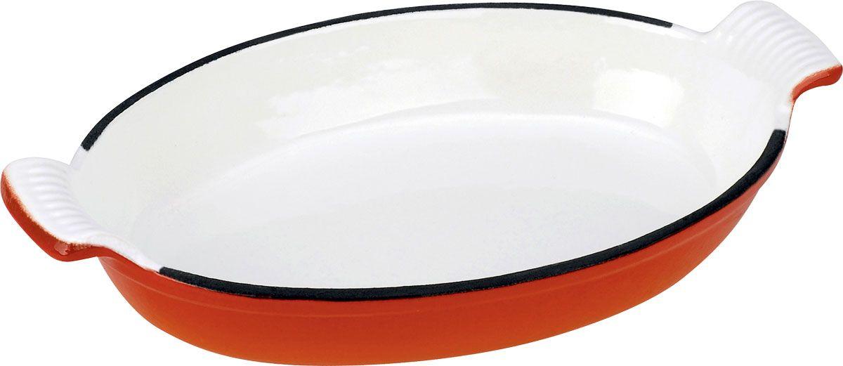 Ростер овальный Vitesse, цвет: оранжевый, 24 см х 17 см + варежка и прихватка68/5/4Овальный ростер Vitesse выполнен из чугуна, покрытого антикоррозийным составом, который безвреден для человека. Внутри и снаружи ростер обработан высококачественной эмалью, которая устойчива к температуре и повреждениям. Эмалированный чугун - это железо, на которое наложено прочное эмалевое покрытие. Такая посуда отлично подходит для приготовления традиционной здоровой пищи. Кроме того, чугун является наилучшим материалом, который долго удерживает и равномерно распределяет тепло. Благодаря особенным качествам эмали, чем дольше вы используете посуду, тем лучше становятся ее эксплуатационные характеристики. В комплект к ростеру прилагается варежка и прихватка красного цвета. Ростер подходит для использования на всех типах плит, включая индукционные. Можно мыть в посудомоечной машине. Характеристики:Материал: чугун, эмаль, текстиль. Цвет: оранжевый. Размер ростера (с учетом ручек): 30 см х 18 см. Внутренний размер ростера: 24 см х 17 см. Высота стенки ростера: 4,5 см. Толщина стенок ростера: 3,5 мм. Толщина дна ростера: 7 мм. Размер варежки: 25,5 см х 18 см. Размер прихватки: 17 см х 17 см.