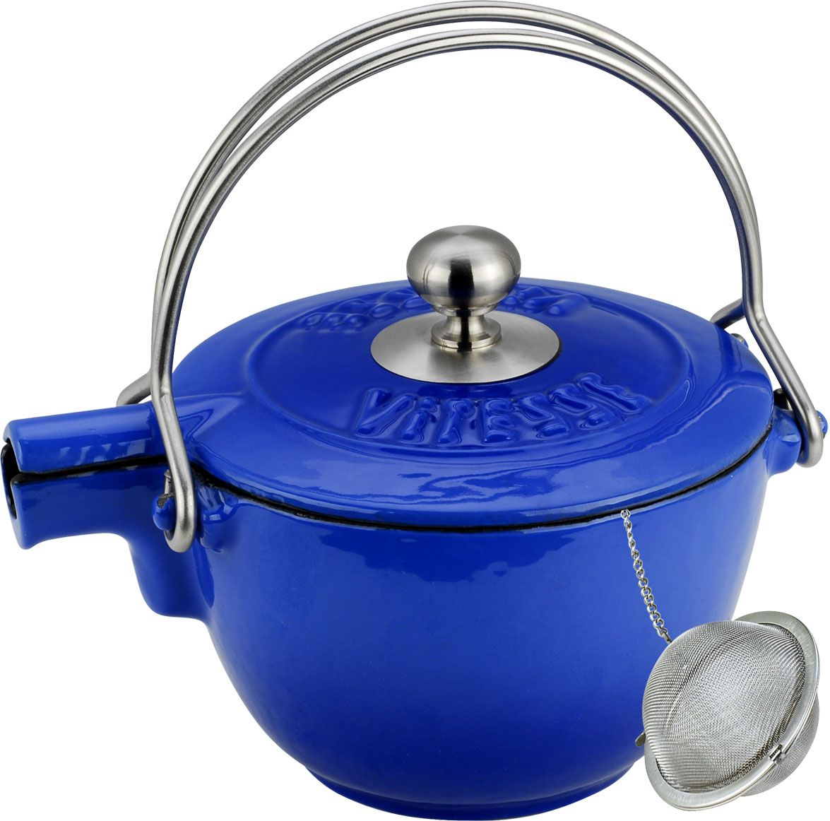 Чайник заварочный Vitesse Ferro, с ситечком, цвет: синий, 1,15 л115510Заварочный чайник Vitesse Ferro изготовлен из чугуна с эмалированной внутренней и внешней поверхностью. Эмалированный чугун - это железо, на которое наложено прочное стекловидное эмалевое покрытие. Такая посуда отлично подходит для приготовления традиционной здоровой пищи. Чугун является наилучшим материалом, который долго удерживает и равномерно распределяет тепло. Благодаря особым качествам эмали, чем дольше вы используете посуду, тем лучше становятся ее эксплуатационные характеристики. Чугун обладает высокой прочностью, износоустойчивостью и антикоррозийными свойствами. Чайник оснащен двумя металлическими ручками и крышкой. Металлическое ситечко на цепочке с крючком - в комплекте. Можно готовить на газовых, электрических, стеклокерамических, галогенных, индукционных плитах. Подходит для мытья в посудомоечной машине.Высота чайника (без учета ручки и крышки): 10,5 см. Диаметр чайника (по верхнему краю): 15,5 см. Диаметр ситечка: 6 см.