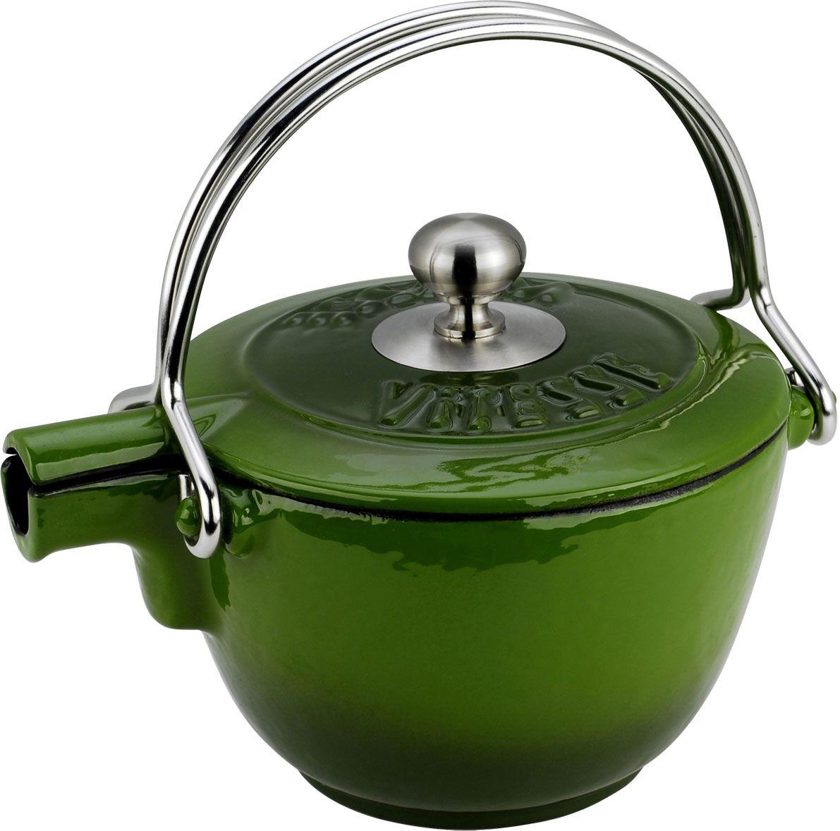 Чайник заварочный Vitesse Ferro, с ситечком, цвет: зеленый, 1,15 л54 009312Заварочный чайник Vitesse Ferro изготовлен из чугуна с эмалированной внутренней и внешней поверхностью. Эмалированный чугун - это железо, на которое наложено прочное стекловидное эмалевое покрытие. Такая посуда отлично подходит для приготовления традиционной здоровой пищи. Чугун является наилучшим материалом, который долго удерживает и равномерно распределяет тепло. Благодаря особым качествам эмали, чем дольше вы используете посуду, тем лучше становятся ее эксплуатационные характеристики. Чугун обладает высокой прочностью, износоустойчивостью и антикоррозийными свойствами. Чайник оснащен двумя металлическими ручками и крышкой. Металлическое ситечко на цепочке с крючком - в комплекте. Можно готовить на газовых, электрических, стеклокерамических, галогенных, индукционных плитах. Подходит для мытья в посудомоечной машине.Высота чайника (без учета ручки и крышки): 10,5 см. Диаметр чайника (по верхнему краю): 15,5 см. Диаметр ситечка: 6 см.