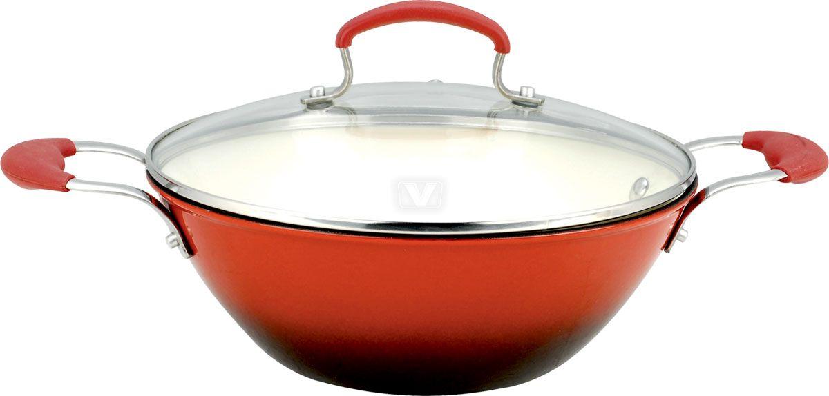 Сковорода-вок Vitesse, цвет: оранжево-красный. Диаметр 26 см. VS-2332FS-91909Сковорода-вок Vitesse изготовлена из чугуна и имеет антикоррозийное покрытие и внутреннее матовое эмалированное покрытие. Крышка, изготовленная из стекла позволяет следить за процессом приготовления пищи без потери тепла. Она снабжена металлическим ободом. Ручки выполнены из нержавеющей стали с силиконовым покрытием. Изделие отличается высокой прочностью и износоустойчивостью. Сковорода-вок подходит для использования на всех типах плит, включая индукционные. Также изделие можно мыть в посудомоечной машине. Характеристики:Материал:чугун, стекло, нержавеющая сталь, силикон. Диаметр: 26 см. Высота стенки:12 см. Толщина стенки:0,3 см. Толщина дна:0,5 см. Объем: 4,1 л. Размер упаковки:34,5 см х 14 см х 27 см.Изготовитель:Китай. Артикул:VS-2332. УВАЖАЕМЫЕ КЛИЕНТЫ!Обращаем ваше внимание на тот факт, что объем указан максимальный, с учетом полного наполнения до кромки. Рабочий объем сковороды имеет меньший литраж.