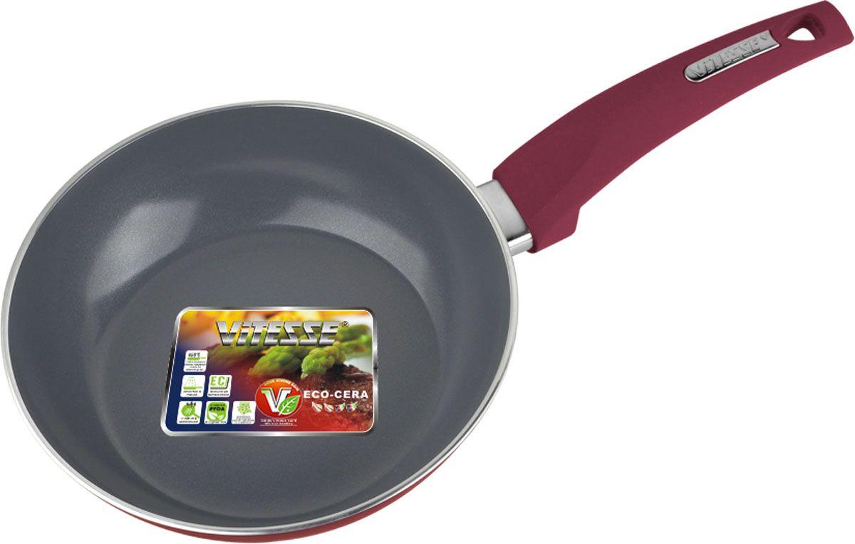 Сковорода Vitesse Renaissance, с керамическим покрытием, цвет: терракотовый. Диаметр 20 см + форма силиконовая для яиц и оладьевVS-2518-cherryСковорода Vitesse Renaissance изготовлена из высококачественного алюминия с внутренним керамическим покрытием премиум-класса Eco-Cera. Благодаря керамическому покрытию пища не пригорает и не прилипает к поверхности сковороды, что позволяет готовить с минимальным количеством масла. Кроме того, такое покрытие абсолютно безопасно для здоровья человека, так как не содержит вредной примеси PFOA. Покрытие стойко к высоким температурам (до 450°С), устойчиво к царапинам.Внешнее цветное термостойкое покрытие охраняет цвет долгое время и обладает жироотталкивающими свойствами. Дно сковороды снабжено антидеформационным индукционным диском. Сковорода быстро разогревается, распределяя тепло по всей поверхности, что позволяет готовить в энергосберегающем режиме, значительно сокращая время, проведенное у плиты.Сковорода оснащена прочной не нагревающейся бакелитовой ручкой с покрытием Soft-Touch. Сковорода пригодна для использования на всех типах плит, включая индукционные. Подходит для чистки в посудомоечной машине.К сковороде прилагается силиконовая форма в виде сердца. Она предназначена для приготовления яичницы, выпекания блинов необычной формы и других блюд. Необходимо просто залить приготавливаемую массу внутрь формочки, расположенной на сковородке, и подождать, пока блюдо не дойдет до нужной кондиции. Благодаря такой формочке, вы привнесете немного оригинальности и разнообразия в свой повседневный завтрак.Диаметр сковороды: 20 см.Высота стенки сковороды: 5 см.Толщина стенки: 3 мм.Толщина дна: 5 мм.Длина ручки: 16,5 см.Размер формочки для яиц и оладьев: 11 см х 11,5 см х 2 см.