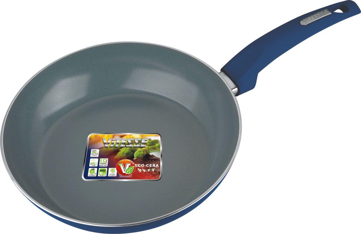 Сковорода Vitesse Renaissance, с керамическим покрытием, цвет: синий. Диаметр 24 см + форма силиконовая для яиц и оладьев94672Сковорода Vitesse Renaissance изготовлена из высококачественного алюминия с внутренним керамическим покрытием премиум-класса Eco-Cera. Благодаря керамическому покрытию пища не пригорает и не прилипает к поверхности сковороды, что позволяет готовить с минимальным количеством масла. Кроме того, такое покрытие абсолютно безопасно для здоровья человека, так как не содержит вредной примеси PFOA. Покрытие стойко к высоким температурам (до 450°С), устойчиво к царапинам.Внешнее цветное термостойкое покрытие охраняет цвет долгое время и обладает жироотталкивающими свойствами. Дно сковороды снабжено антидеформационным индукционным диском. Сковорода быстро разогревается, распределяя тепло по всей поверхности, что позволяет готовить в энергосберегающем режиме, значительно сокращая время, проведенное у плиты.Сковорода оснащена прочной ненагревающейся бакелитовой ручкой с покрытием Soft-Touch. Сковорода пригодна для использования на всех типах плит, включая индукционные. Подходит для чистки в посудомоечной машине.К сковороде прилагается силиконовая форма в виде сердца. Она предназначена для приготовления яичницы, выпекания блинов необычной формы и т.п. Необходимо просто залить приготавливаемую массу внутрь формочки, расположенной на сковородке, и подождать, пока блюдо не дойдет до нужной кондиции. Благодаря такой формочке, вы привнесете немного оригинальности и разнообразия в свой повседневный завтрак.Диаметр сковороды: 24 см.Высота стенки сковороды: 5 см.Толщина стенки: 3 мм.Толщина дна: 5 мм.Длина ручки: 19 см.Размер формочки для яиц и оладьев: 11 см х 11,5 см х 2 см.