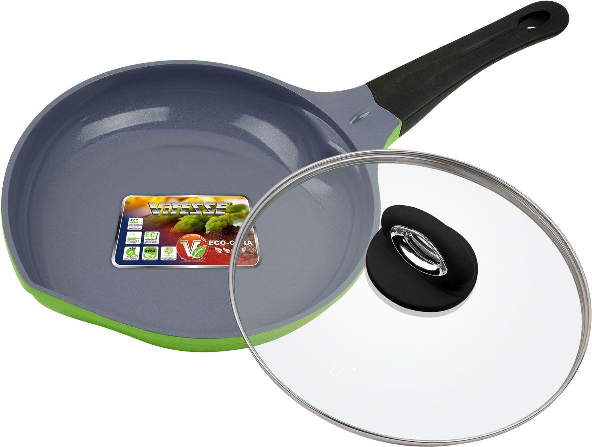Сковорода Vitesse Peach с крышкой, с керамическим покрытием, цвет: салатовый. Диаметр 24 смVS-2529-greenСковорода Vitesse Peach изготовлена из высококачественного литого алюминия. Внешнее цветное термостойкое покрытие с рельефом в виде сот обеспечивает легкую чистку. Внутреннее керамическое покрытие Eco-Cera абсолютно безопасно для здоровья человека и окружающей среды, так как не содержит вредной примеси PFOA и имеет низкое содержание CO в выбросах при производстве. Керамическое покрытие обладает высокой прочностью, что позволяет готовить при температуре до 450°С и использовать металлические лопатки. Кроме того, с таким покрытием пища не пригорает и не прилипает к стенкам. Готовить можно с минимальным количеством подсолнечного масла. Дно оснащено антидеформационным диском. Сковорода быстро разогревается, распределяя тепло по всей поверхности, что позволяет готовить в энергосберегающем режиме, значительно сокращая время, проведенное у плиты.Сковорода оснащена термостойкой ненагревающейся ручкой удобной формы, выполненной из бакелита с эффектом Soft-Touch. Имеется носик для слива жидкости. Крышка выполнена из термостойкого стекла с ободком из нержавеющей стали и пароотводом.Можно использовать на газовых, электрических, стеклокерамических, галогенных, индукционных плитах. Можно мыть в посудомоечной машине.Диаметр: 24 см.Высота стенки: 5 см.Толщина стенки: 2,8 мм.Толщина дна: 6 мм.Длина ручки: 19 см.