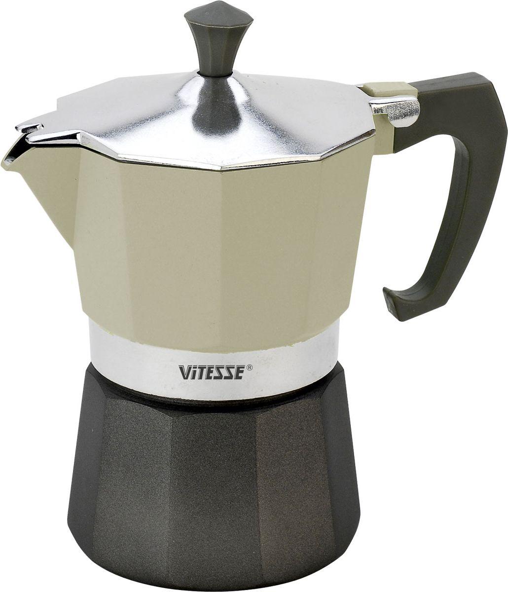 Кофеварка-эспрессо Vitesse на 3 чашки, цвет: белыйVS-2604-whiteТеперь и дома вы сможете насладиться великолепным эспрессо благодаря кофеварке Vitesse, которая позволит вам приготовить ароматный напиток на 3 персоны. Новый стильный дизайн компактной кофеварки станет ярким элементом интерьера вашего дома!Корпус кофеварки изготовлен из высококачественного алюминия, ручка - жаропрочная бакелитовая. Кофеварка состоит из двух соединенных между собой емкостей. В нижнюю емкость наливается вода, в эту же емкость устанавливается фильтр-сифон, в который засыпается кофе. К нижней емкости прикручивается верхняя емкость, после чего кофеварка ставится на электроплитку, и через несколько минут кофе начинает брызгать в верхний контейнер и осаждаться. Кофе получается крепкий и насыщенный.Инструкция по эксплуатации кофеварки прилагается. Можно мыть в посудомоечной машине. Характеристики:Материал:высококачественный алюминий, пластик. Высота кофеварки:15,5 см. Диаметр кофеварки по верхнему краю:8,5 см. Диаметр основания:9 см.Рабочий объем: 105 мл.Размер упаковки:16,5 см х 13,5 см х 10 см.Изготовитель:Китай. Артикул:VS-2604. Посуда Vitesse обладает выдающимися функциональными свойствами. Легкие в уходе кастрюли и сковородки имеют плотно закрывающиеся крышки, которые дают возможность готовить с малым количеством воды и экономией энергии, и идеально подходят для всех видов плит: газовых, электрических, стеклокерамических и индукционных. Конструкция дна посуды гарантирует быстрое поглощение тепла, его равномерное распределение и сохранение. Великолепно отполированная поверхность, а также многочисленные конструктивные новшества, заложенные во все изделия Vitesse, позволит Вам открыть новые горизонты приготовления уже знакомых блюд. Для производства посуды Vitesseиспользуются только высококачественные материалы, которые соответствуют международным стандартам.