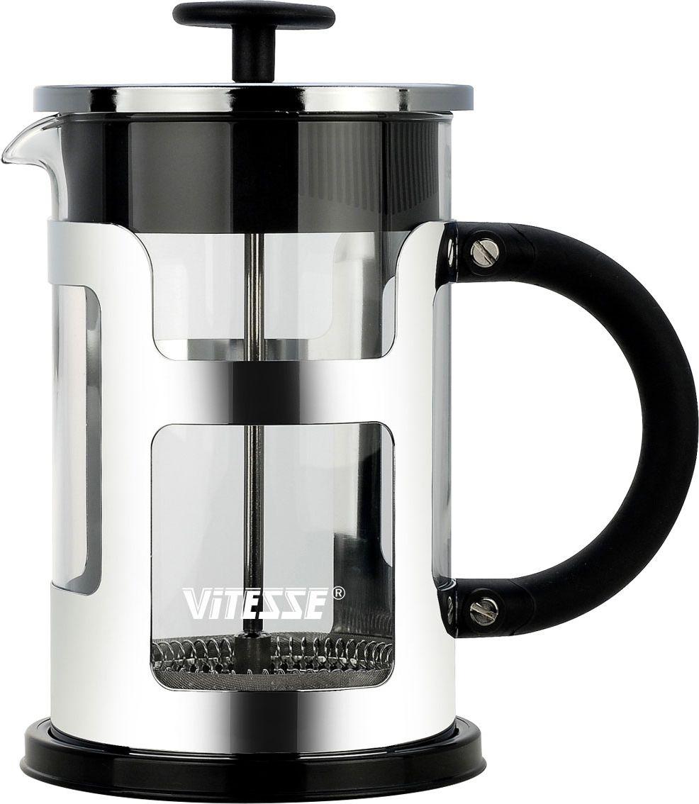 Френч-пресс Vitesse, 800 мл. VS-261268/5/4Френч-пресс Vitesse предназначен для приготовления кофе методом настаивания и отжима, а также для заваривания чая и различных трав. Центральный элемент френч-прессов - плунжер - представляет собой фильтр с ручкой, позволяющий эффективно отделять сырье от напитка при отжиме. Корпус, фильтр и крышка выполнены из высококачественной нержавеющей стали с зеркальной полировкой, колба изготовлена из термостойкого стекла. Эргономичная прорезиненная ручка обеспечивает надежный хват и комфорт во время использования. Устойчивое пластиковое основание обладает термоизоляционными свойствами, поэтому вы можете не бояться, что ваш стол может быть поврежден от высоких температур. Специальная сеточка-фильтр эффективно задерживает чаинки и кофейный осадок. В комплекте пластиковая мерная ложка. Можно мыть в посудомоечной машине. Объем: 800 мл. Диаметр (по верхнему краю): 9,5 см. Высота френч-пресса: 19 см. Длина ложечки: 10 см. Диаметр основания: 11 см.