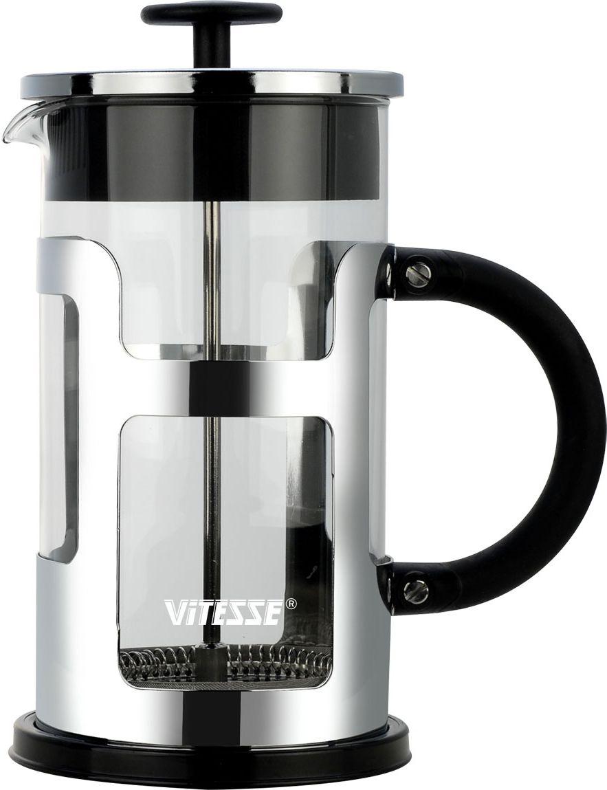 Френч-пресс Vitesse, 1 л. VS-2613115510Френч-пресс Vitesse предназначен для приготовления кофе методом настаивания и отжима, а также для заваривания чая и различных трав. Центральный элемент френч-прессов - плунжер - представляет собой фильтр с ручкой, позволяющий эффективно отделять сырье от напитка при отжиме. Корпус, фильтр и крышка выполнены из высококачественной нержавеющей стали с зеркальной полировкой, колба изготовлена из термостойкого стекла. Эргономичная прорезиненная ручка обеспечивает надежный хват и комфорт во время использования. Устойчивое пластиковое основание обладает термоизоляционными свойствами, поэтому вы можете не бояться, что ваш стол может быть поврежден от высоких температур. Специальная сеточка-фильтр эффективно задерживает чаинки и кофейный осадок. В комплекте пластиковая мерная ложка. Можно мыть в посудомоечной машине. Объем: 1 л. Диаметр (по верхнему краю): 9,5 см. Высота френч-пресса: 22 см. Длина ложечки: 10 см. Диаметр основания: 11 см.