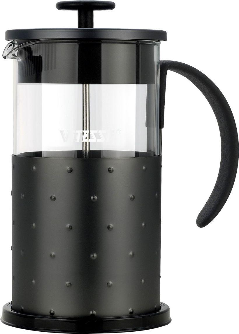 Кофеварка френч-пресс Vitesse, с мерной ложкой, 1 л. VS-2619115510Кофеварка Vitesse с фильтром френч-пресс поможет вам в приготовлении ароматного кофе.Колба френч-пресса Vitesse выполнена из термостойкого стекла, что позволяет наблюдать процесс настаивания и заваривания напитка, а также обеспечивает гигиеничность посуды. Внешний корпус, выполненный из нержавеющей стали с рельефной поверхностью, долговечен, прочен и устойчив к деформации и образованию царапин. Френч-пресс имеет удобную прорезиненную ручку, носик, а так же мерную ложку, выполненную из пластика.Кофеварки предназначены для приготовления кофе методом настаивания и отжима. Вы также можете использовать френч-пресс для заваривания чая и различных трав.Уникальный дизайн полностью соответствует последним модным тенденциям в создании предметов бытовой техники.Можно использовать в посудомоечной машине. Высота кофеварки (без учета крышки): 18,5 см. Размер кофеварки (с учетом крышки и ручки): 22 см х 18 см х 11,2 см. Диаметр основания: 11,2 см.Диаметр по верхнему краю: 9,7 см. Объем кофеварки: 1 л. Длина ложки: 10 см.