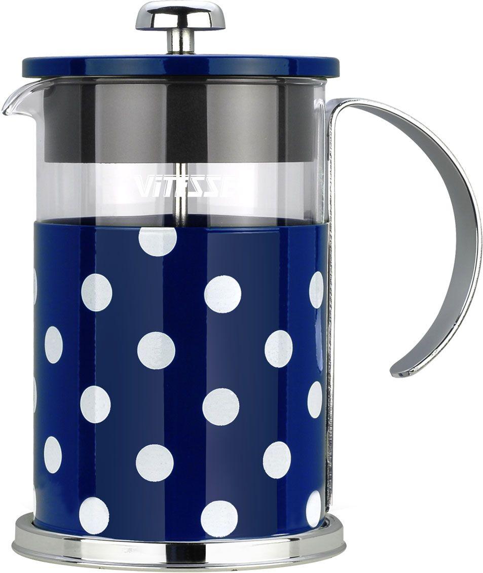 Кофеварка френч-пресс Vitesse, с мерной ложкой, цвет: синий, 800 мл. VS-2622391602Кофеварка Vitesse с фильтром френч-пресс поможет вам в приготовлении ароматного кофе.Колба френч-пресса Vitesse выполнена из термостойкого стекла, что позволяет наблюдать процесс настаиванияи заваривания напитка, а также обеспечивает гигиеничность посуды. Внешний корпус, выполненный изнержавеющей стали с цветным изображением, долговечен, прочен и устойчив к деформации и образованиюцарапин. Френч-пресс имеет удобную ручку, носик, а также мерную ложку, выполненную из пластика.Кофеварки предназначены для приготовления кофе методом настаивания и отжима. Вы также можетеиспользовать френч-пресс для заваривания чая и различных трав.Уникальный дизайн полностью соответствует последним модным тенденциям в создании предметов бытовойтехники.Можно использовать в посудомоечной машине.Высота кофеварки (без учета крышки): 16 см.Размер кофеварки (с учетом крышки и ручки): 18,5 см х 16,5 см х 11,3 см.Диаметр основания: 11,3 см. Диаметр по верхнему краю: 9,7 см.Объем кофеварки: 800 мл.Длина ложки: 10 см.