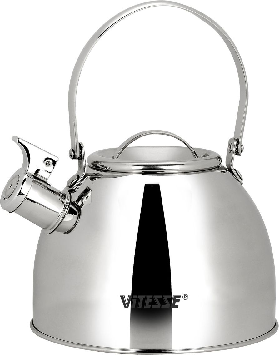 Чайник Vitesse Classic со свистком, 2,5 л. VS-7803391602Чайник Vitesse Classic выполнен из высококачественной нержавеющей стали 18/10. Капсулированное дно с прослойкой из алюминия обеспечивает наилучшее распределение тепла. Носик чайника оснащен откидным свистком, что позволит вам контролировать процесс подогрева или кипячения воды. Подвижная ручка не нагревается, фиксируется в нужное вам положение. Чайник Vitesse Classic подходит для использования на всех типах плит. Также изделие можно мыть в посудомоечной машине. Характеристики: Материал: нержавеющая сталь 18/10.Диаметр основания чайника: 19 см.Высота чайника (с учетом крышки и ручки):25 см.Объем:2,5 л.Размер упаковки:19,5 см х 19,5 см х 16,5 см. Изготовитель:Китай. Артикул:VS-7803.Кухонная посуда марки Vitesseиз нержавеющей стали 18/10 предоставит вам все необходимое для получения удовольствия от приготовления пищи и принесет радость от его результатов. Посуда Vitesse обладает выдающимися функциональными свойствами. Легкие в уходе кастрюли и сковородки имеют плотно закрывающиеся крышки, которые дают возможность готовить с малым количеством воды и экономией энергии, и идеально подходят для всех видов плит: газовых, электрических, стеклокерамических и индукционных. Конструкция дна посуды гарантирует быстрое поглощение тепла, его равномерное распределение и сохранение. Великолепно отполированная поверхность, а также многочисленные конструктивные новшества, заложенные во все изделия Vitesse, позволит вам открыть новые горизонты приготовления уже знакомых блюд. Для производства посуды Vitesseиспользуются только высококачественные материалы, которые соответствуют международным стандартам.