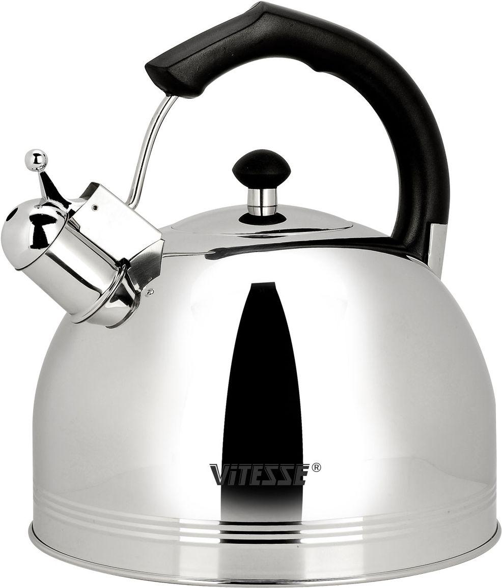 Чайник Vitesse Classic со свистком, 4,5 л. VS-7805115510Чайник Vitesse Classic выполнен из высококачественной нержавеющей стали 18/10. Капсулированное дно с прослойкой из алюминия обеспечивает наилучшее распределение тепла. Носик чайника оснащен откидным свистком, что позволит вам контролировать процесс подогрева или кипячения воды. Прочная бакелитовая ручка не нагревается, имеет фиксированное положение. Чайник Vitesse Classic подходит для использования на всех типах плит. Также изделие можно мыть в посудомоечной машине. Характеристики: Материал: нержавеющая сталь 18/10, бакелит.Диаметр основания чайника: 24 см.Высота чайника (с учетом крышки и ручки):25 см.Объем:4,5 л.Размер упаковки:25 см х 24 см х 26 см. Изготовитель:Китай. Артикул:VS-7805.Кухонная посуда марки Vitesseиз нержавеющей стали 18/10 предоставит вам все необходимое для получения удовольствия от приготовления пищи и принесет радость от его результатов. Посуда Vitesse обладает выдающимися функциональными свойствами. Легкие в уходе кастрюли и сковородки имеют плотно закрывающиеся крышки, которые дают возможность готовить с малым количеством воды и экономией энергии, и идеально подходят для всех видов плит: газовых, электрических, стеклокерамических и индукционных. Конструкция дна посуды гарантирует быстрое поглощение тепла, его равномерное распределение и сохранение. Великолепно отполированная поверхность, а также многочисленные конструктивные новшества, заложенные во все изделия Vitesse, позволит вам открыть новые горизонты приготовления уже знакомых блюд. Для производства посуды Vitesseиспользуются только высококачественные материалы, которые соответствуют международным стандартам.