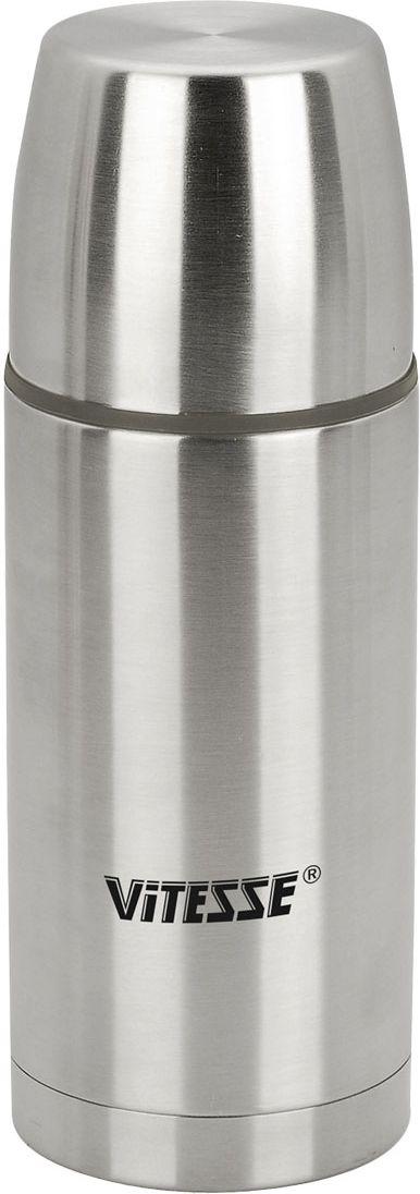 Термос Vitesse Classic, 500 мл. VS-8303115510Термос Vitesse Classic выполнен из высококачественной нержавеющей стали 18/10 с матовой полировкой. Термос имеет вакуумную изоляцию, которая на сегодняшний день является самым эффективным способом сохранения напитков как горячими, так и холодными. Вы сможете приготовить чай и кофе непосредственно в термосе. Термос оснащен крышкой-чашкой и дополнительной пластиковой чашкой. Пробка легко фиксируется. Легкий и удобный он станет незаменимым спутником в ваших поездках. Термос можно мыть в посудомоечной машине. Характеристики:Материал:нержавеющая сталь 18/10, пластик.Объем:500 мл. Высота (с учетом крышки):21,5 см. Размер крышки-чашки:7,5 см х 6,5 см х 7,5 см. Размер пластиковой чашки:6,5 см х 4,5 см х 6,5 см. Размер упаковки:8 см х 23 см х 8 см.Изготовитель:Китай.Артикул:VS-8303. Кухонная посуда марки Vitesseиз нержавеющей стали 18/10 предоставит вам все необходимое для получения удовольствия от приготовления пищи и принесет радость от его результатов. Посуда Vitesseобладает выдающимися функциональными свойствами. Легкие в уходе кастрюли и сковородки имеют плотно закрывающиеся крышки, которые дают возможность готовить с малым количеством воды и экономией энергии, и идеально подходят для всех видов плит: газовых, электрических, стеклокерамических и индукционных. Конструкция дна посуды гарантирует быстрое поглощение тепла, его равномерное распределение и сохранение. Великолепно отполированная поверхность, а также многочисленные конструктивные новшества, заложенные во все изделия Vitesse , позволит вам открыть новые горизонты приготовления уже знакомых блюд. Для производства посуды Vitesseиспользуются только высококачественные материалы, которые соответствуют международным стандартам.