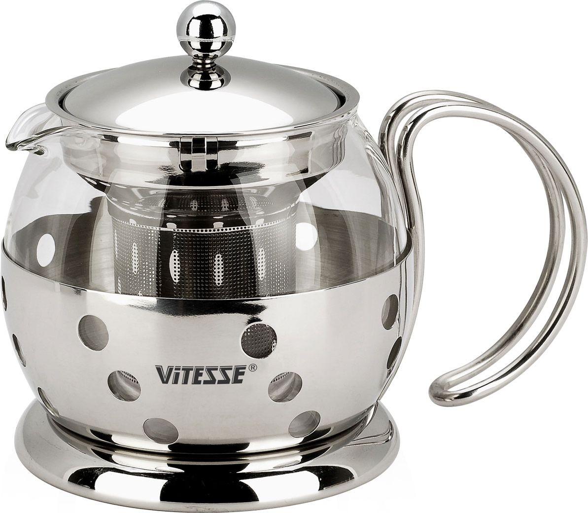 Чайник заварочный Vitesse Classic, с ситечком, 700 мл. VS-8319391602Заварочный чайник Vitesse Classic, выполненный из высококачественной нержавеющей стали и термостойкого стекла, предоставит вам все необходимые возможности для успешного заваривания чая. Чай в таком чайнике дольше остается горячим, а полезные и ароматические вещества полностью сохраняются в напитке. Чайник имеет вынимающийся фильтр-ситечко, что делает его чрезвычайно удобным в использовании.Эстетичный и функциональный, с эксклюзивным дизайном, чайник будет оригинально смотреться в любом интерьере.Чайник пригоден для мытья в посудомоечной машине.Высота чайника (без учета крышки): 11 см. Диаметр основания чайника: 11 см.