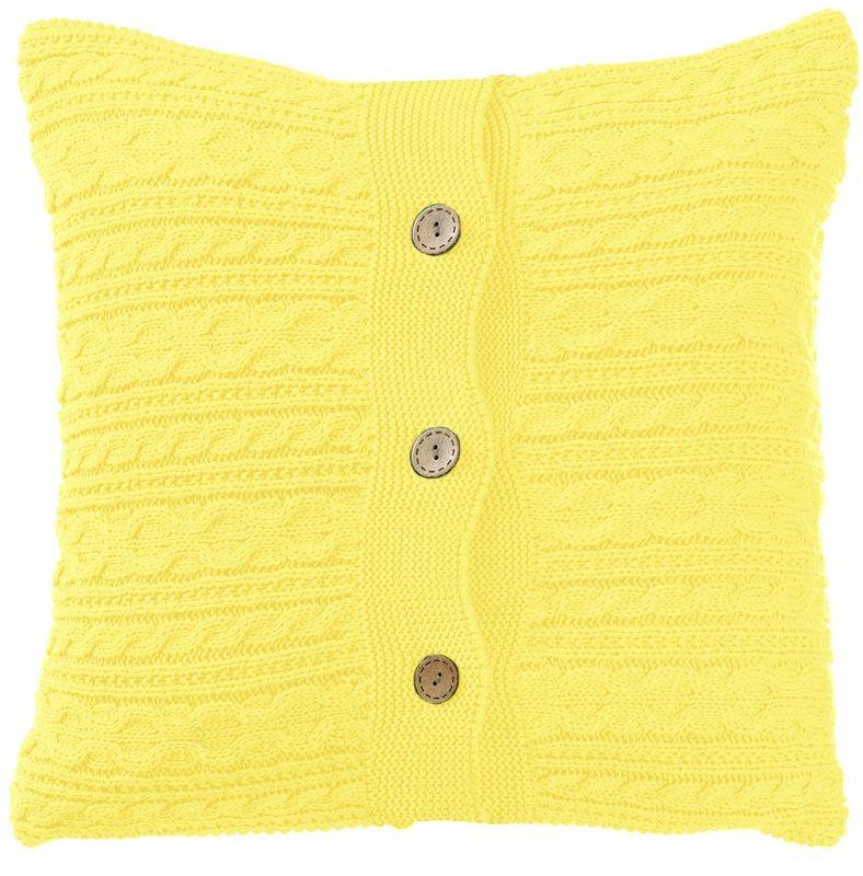 Наволочка декоративная Altali Light yellow, 43 х 43 смS03301004Вязаная подушка в доме - признак уюта и стиля. В отличие от тканевой подушки вязаные изделия более эластичные и структурные. Рисунок вязки гармонично впишется в любой интерьер. Чехол съемный, на пуговицах. Его можно стирать в деликатном режиме, сушить на горизонтальной поверхности.
