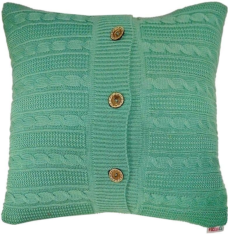 Наволочка декоративная Altali Mint, 43 х 43 см531-105Вязаная подушка в доме - признак уюта и стиля. В отличие от тканевой подушки вязаные изделия более эластичные и структурные. Рисунок вязки гармонично впишется в любой интерьер. Чехол съемный, на пуговицах. Его можно стирать в деликатном режиме, сушить на горизонтальной поверхности.