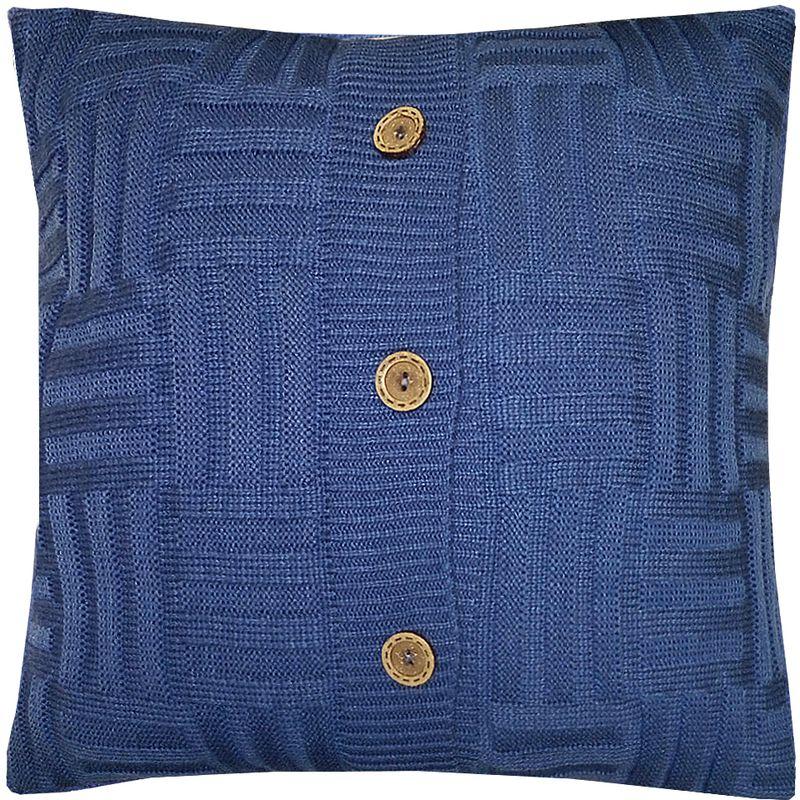 Наволочка декоративная Altali Royal Blue quadro, 43 х 43 смU110DFВязаная подушка в доме - признак уюта и стиля. В отличие от тканевой подушки вязаные изделия более эластичные и структурные. Рисунок вязки гармонично впишется в любой интерьер. Чехол съемный, на пуговицах. Его можно стирать в деликатном режиме, сушить на горизонтальной поверхности.