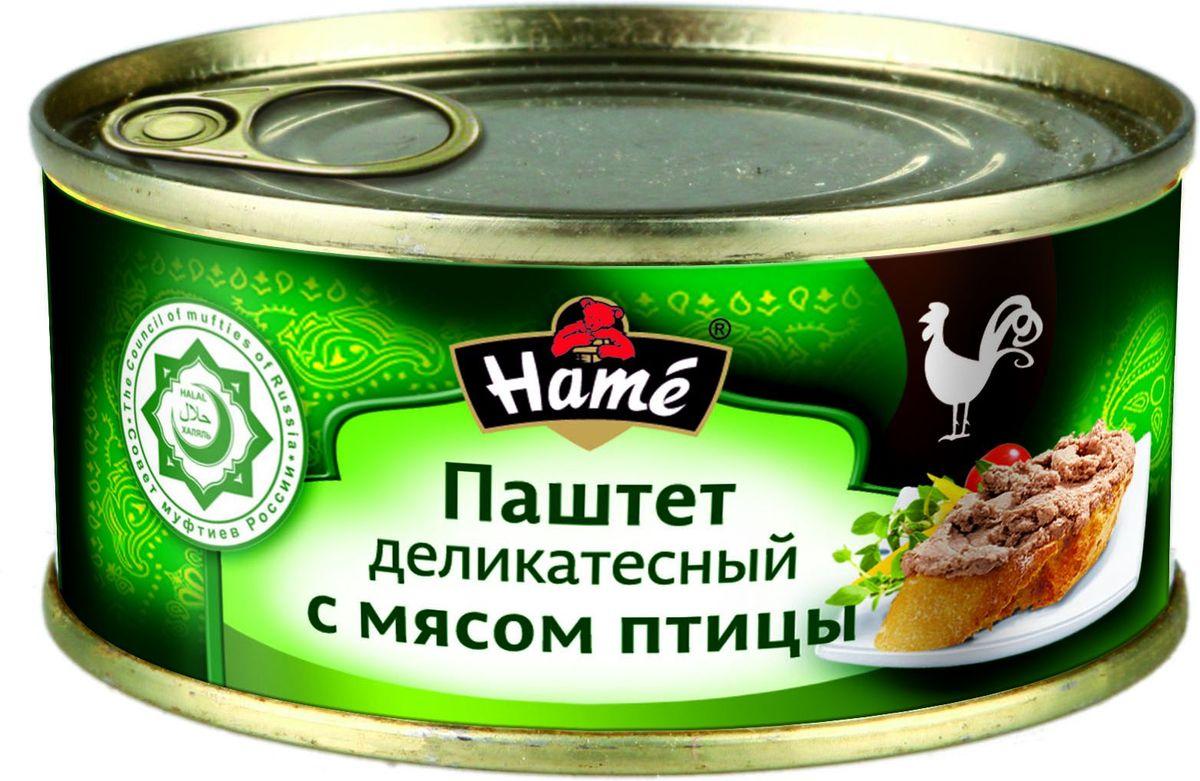 Hame Паштет деликатесный с мясом птицы ХАЛЯЛЬ 250 г. Продукт Халяль. Не содержит свинины. Продукт готов к употреблению. Пищевая ценность в 100 г. продукта:Белок не менее, г - 11,3;Жир не более, г - 12,1;Углеводы не более, г - 11,3.Калорийность не более - 201 ккал / 842 кДж.Хранить при температуре от 0 С до 28 С и относительной влажности воздухане более 75%.После вскрытия хранить в холодильнике при температуре не выше +5 С не более 48 часов.