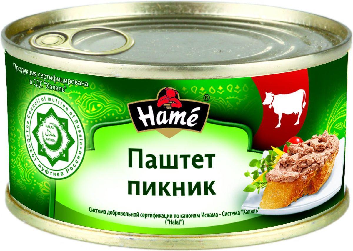 Hame Паштет Пикник халяль, 250 г0120710Hame Паштет Пикник ХАЛЯЛЬ 250 г. Продукт Халяль. Не содержит свинины. Продукт готов к употреблению. Пищевая ценность в 100 г. продукта:Белок не менее, г - 10,8;Жир не более, г - 12,6;Углеводы не более, г - 11,4.Калорийность не более - 202 ккал / 846 кДж.Хранить при температуре от 0 С до 28 С и относительной влажности воздухане более 75%.После вскрытия хранить в холодильнике при температуре не выше +5 С не более 48 часов.