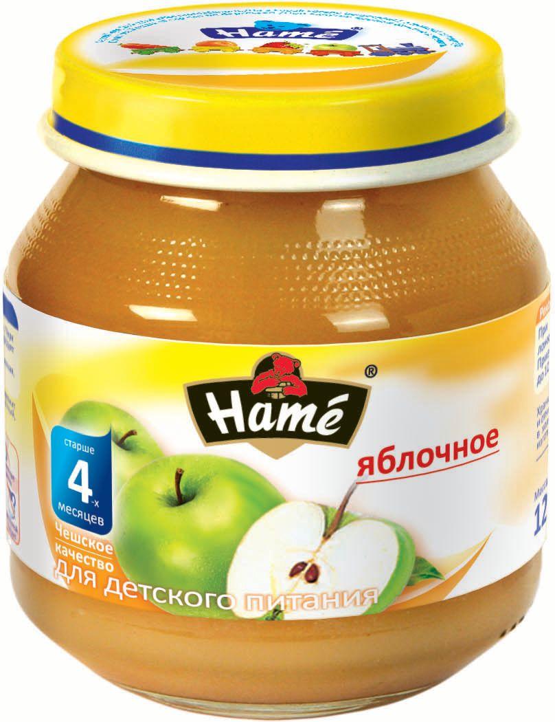 Hame яблоко фруктовое пюре, 125 г0120710Фруктовое пюре для детей раннего возраста. Чешское качество.Пищевая ценность в 100 г продукта:Белок, г - 0,3Жир, г - 0,3Углеводы, г - 19,9Энергетическая ценность 341 кДж/81 ккалПри вскрытии банки должен быть слышен хлопок. Чистой сухой ложкой перемешать содержимое и взять необходимое количество. Прием пюре начинать с 1 чайной ложки в день, увеличивая к 12 мес. до 100 г. в день. Не добавлять сахар.