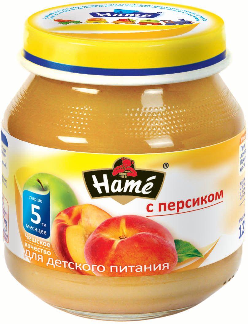 Hame персик фруктовое пюре, 125 г0120710Фруктовое пюре для детей раннего возраста. Чешское качество.Пищевая ценность в 100 г продукта:Белок, г - 0,3Жир, г - 0,3Углеводы, г - 19,9Энергетическая ценность 343 кДж/82 ккалПри вскрытии банки должен быть слышен хлопок. Чистой сухой ложкой перемешать содержимое и взять необходимое количество. Прием пюре начинать с 1 чайной ложки в день, увеличивая к 12 мес. до 100 г. в день. Не добавлять сахар.