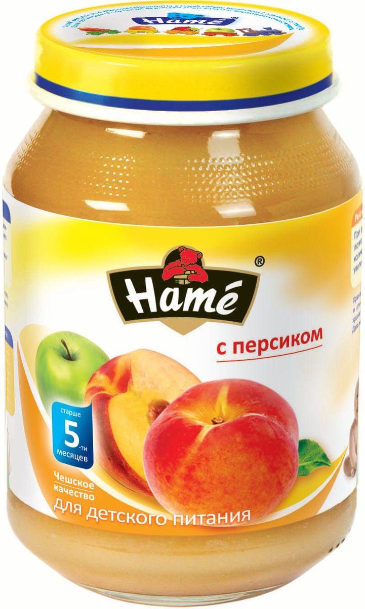 Hame персик фруктовое пюре, 190 г0120710Фруктовое пюре для детей раннего возраста. Чешское качество.Пищевая ценность в 100 г продукта:Белок, г - 0,3Жир, г - 0,3Углеводы, г - 19,9Энергетическая ценность 343 кДж/82 ккалПри вскрытии банки должен быть слышен хлопок. Чистой сухой ложкой перемешать содержимое и взять необходимое количество. Прием пюре начинать с 1 чайной ложки в день, увеличивая к 12 мес. до 100 г. в день. Не добавлять сахар.