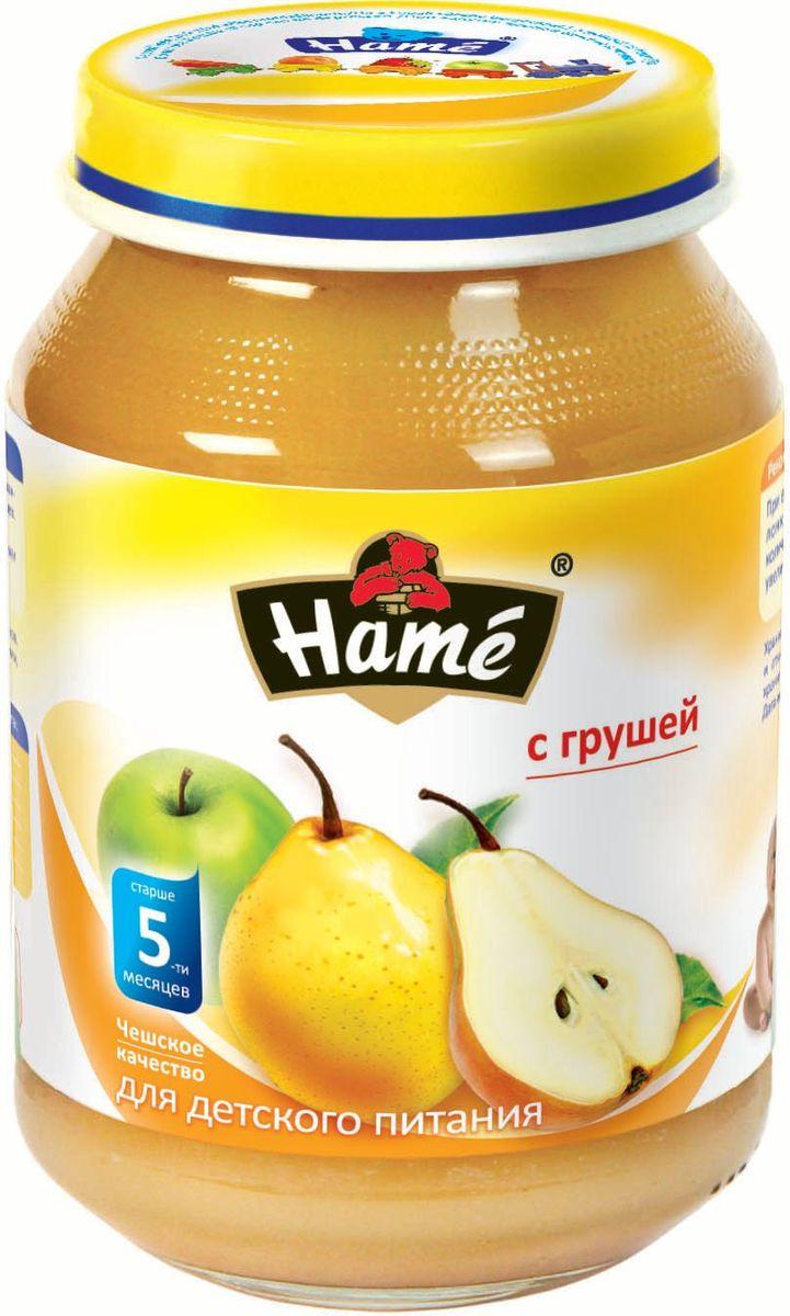 Hame груша фруктовое пюре, 190 г0120710Фруктовое пюре для детей раннего возраста. Чешское качество.Пищевая ценность в 100 г продукта:Белок, г - 0,25Жир, г - 0,1Углеводы, г - 19,9Энергетическая ценность 227 кДж/54 ккалПри вскрытии банки должен быть слышен хлопок. Чистой сухой ложкой перемешать содержимое и взять необходимое количество. Прием пюре начинать с 1 чайной ложки в день, увеличивая к 12 мес. до 100 г. в день. Не добавлять сахар.