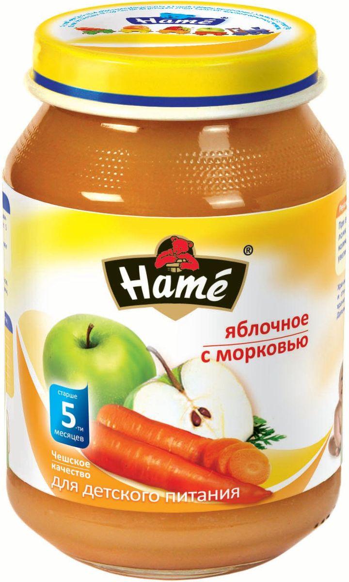 Hame яблоко - морковь фруктовое пюре, 190 г0120710Фруктовое пюре для детей раннего возраста. Чешское качество.Пищевая ценность в 100 г продукта:Белок, г - 0,3Жир, г - 0,3Углеводы, г - 17,3Энергетическая ценность 312кДж/74 ккалПри вскрытии банки должен быть слышен хлопок. Чистой сухой ложкой перемешать содержимое и взять необходимое количество. Прием пюре начинать с 1 чайной ложки в день, увеличивая к 12 мес. до 100 г. в день. Не добавлять сахар.